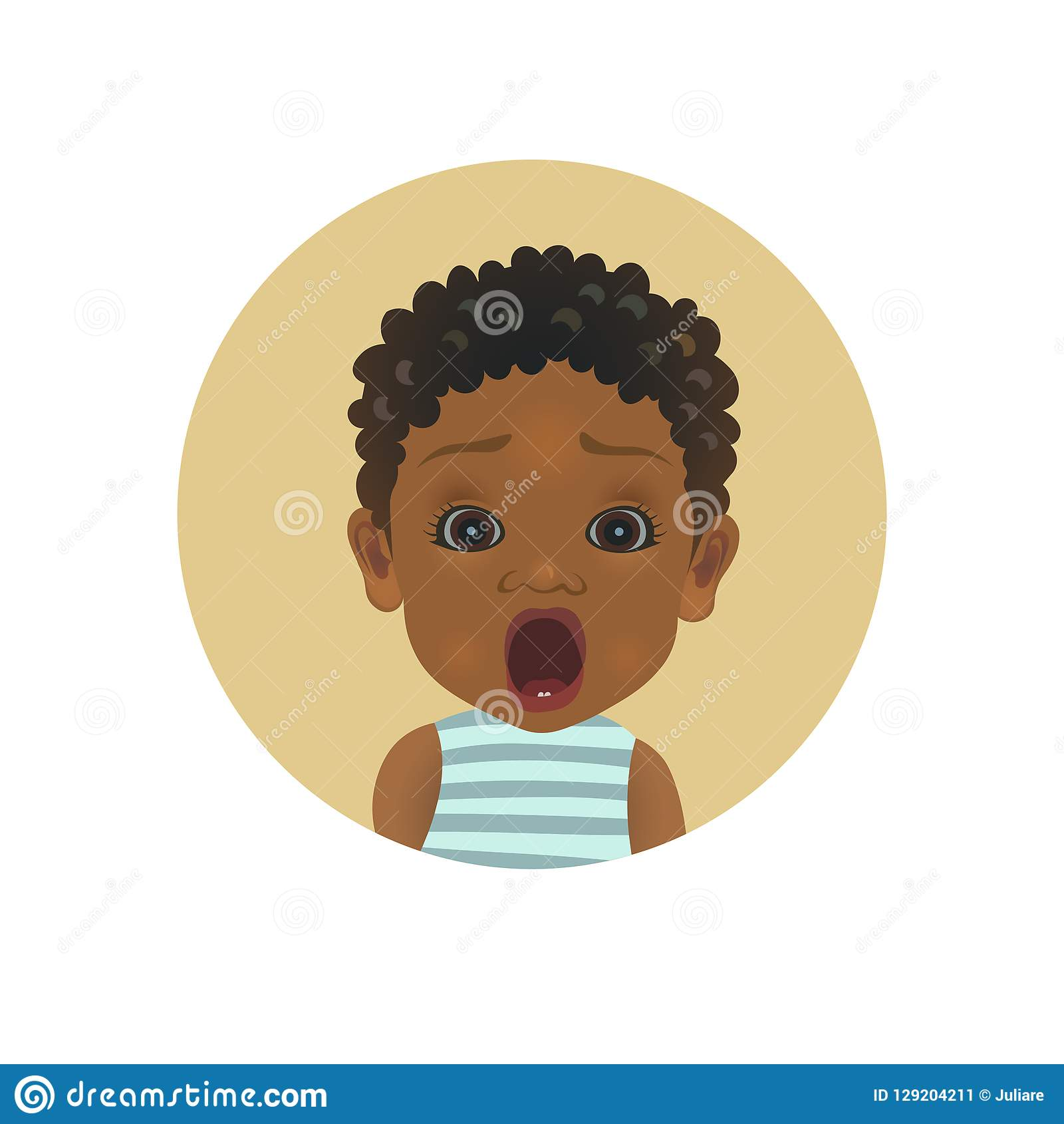 Cute shocked Afro American baby emoticon. Scared African child emoji. Afraid toddler smiley. Frightened facial expression avatar.
