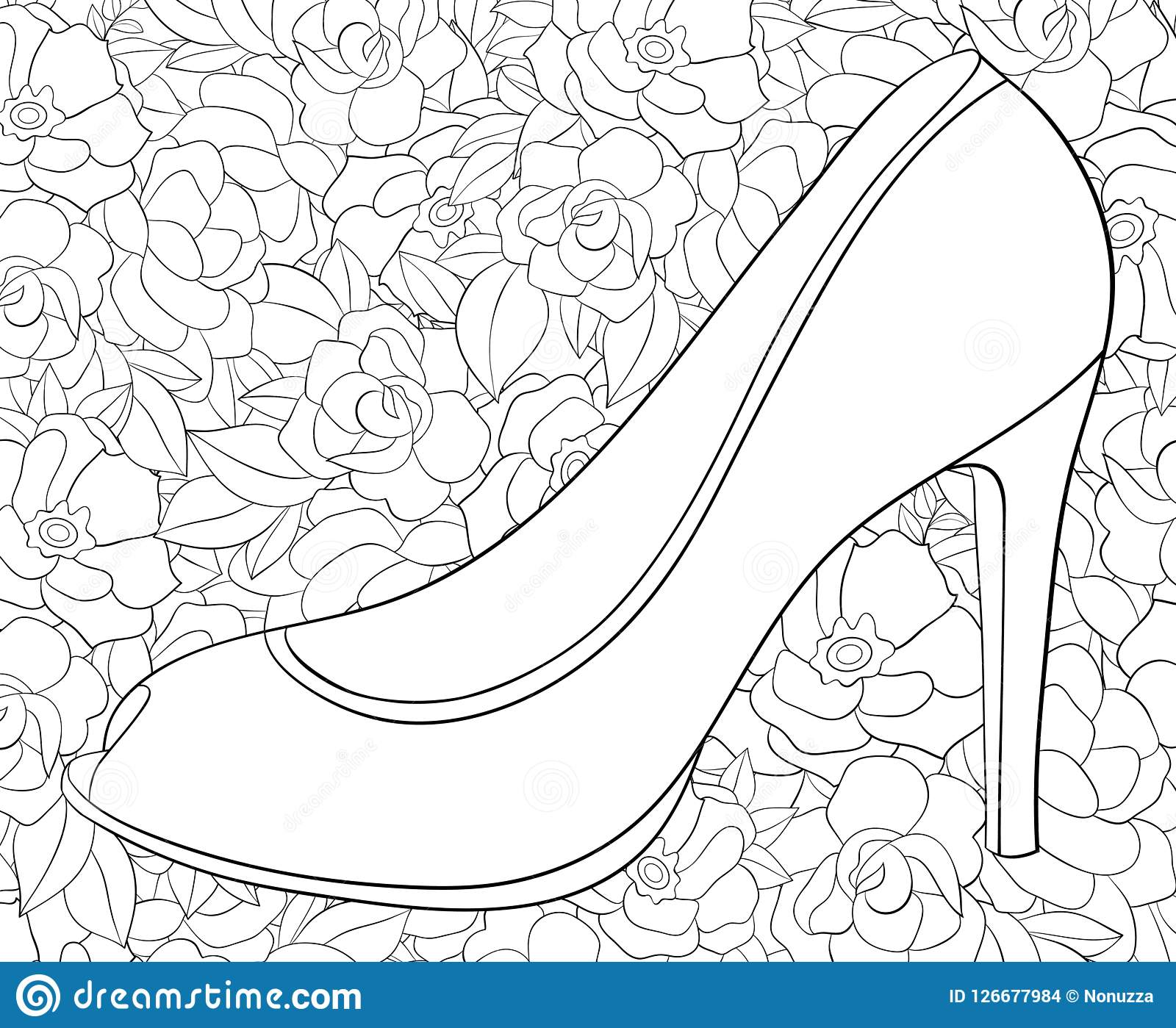 Adult Coloring Book Page A Shoe With High Heel Image For