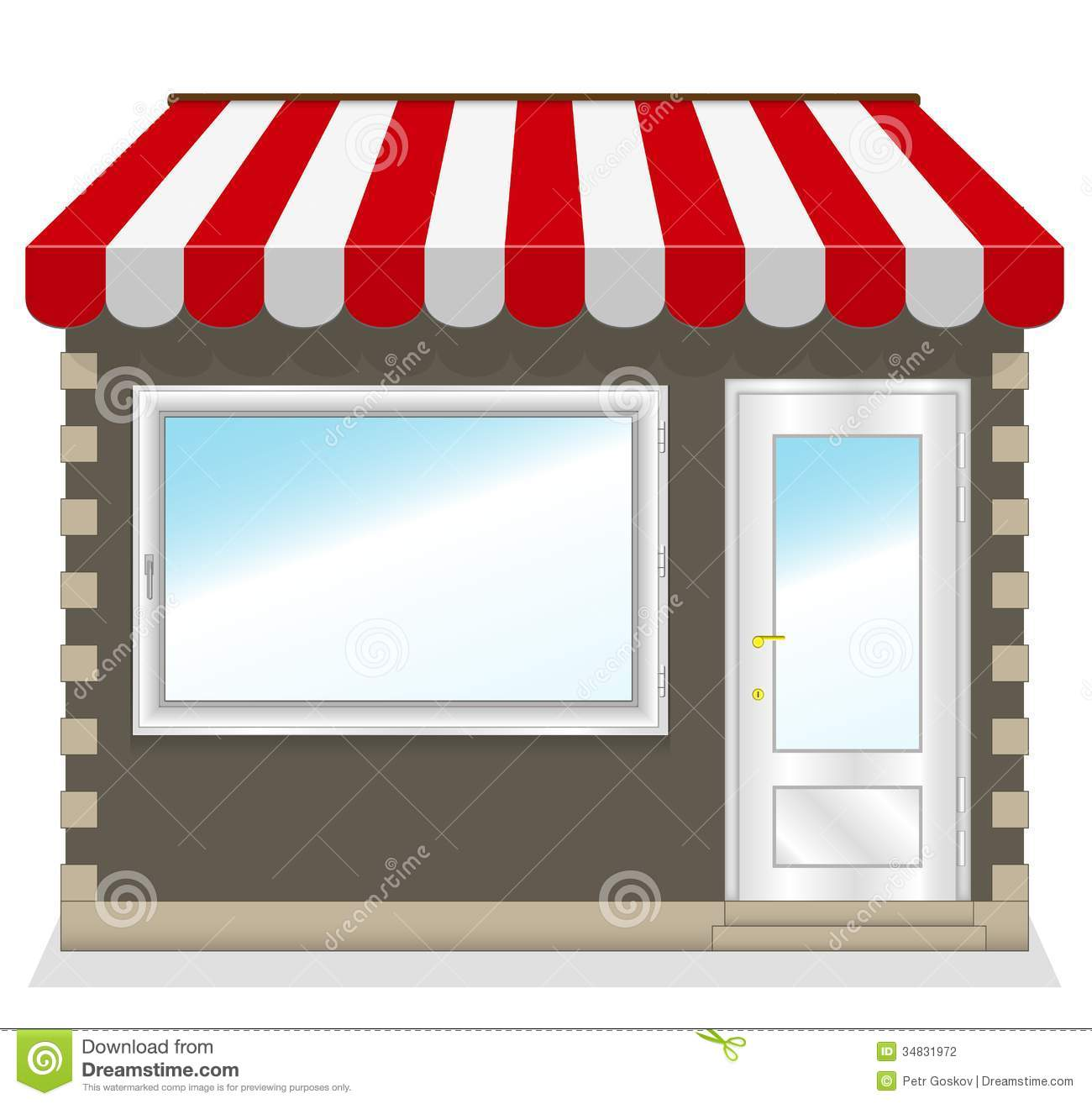 Cute shop icon with red awnings stock photography image for Toldos publicitarios