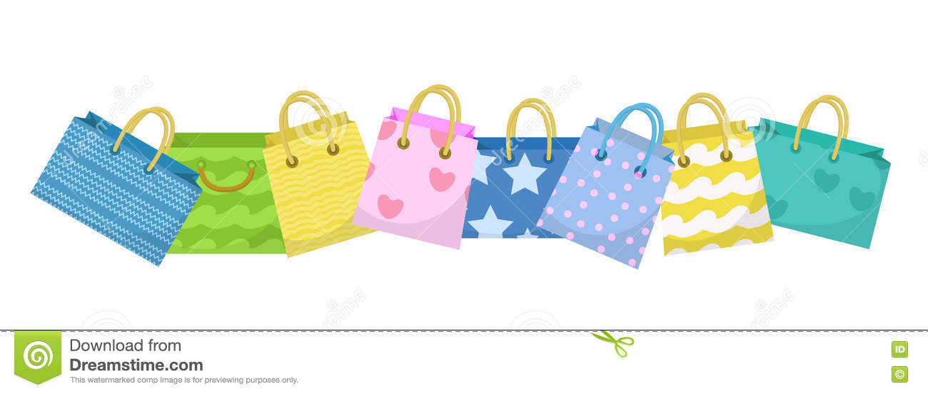Cute Shopping Bag Banner. Colorful Shopping Bags With Different ...
