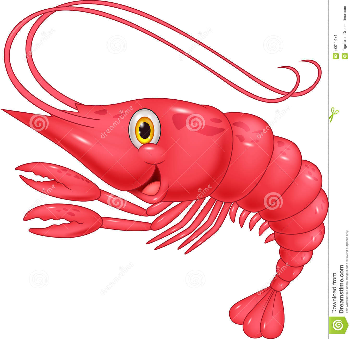 Stock Illustration Cute Shrimp Cartoon Illustration Image58811471