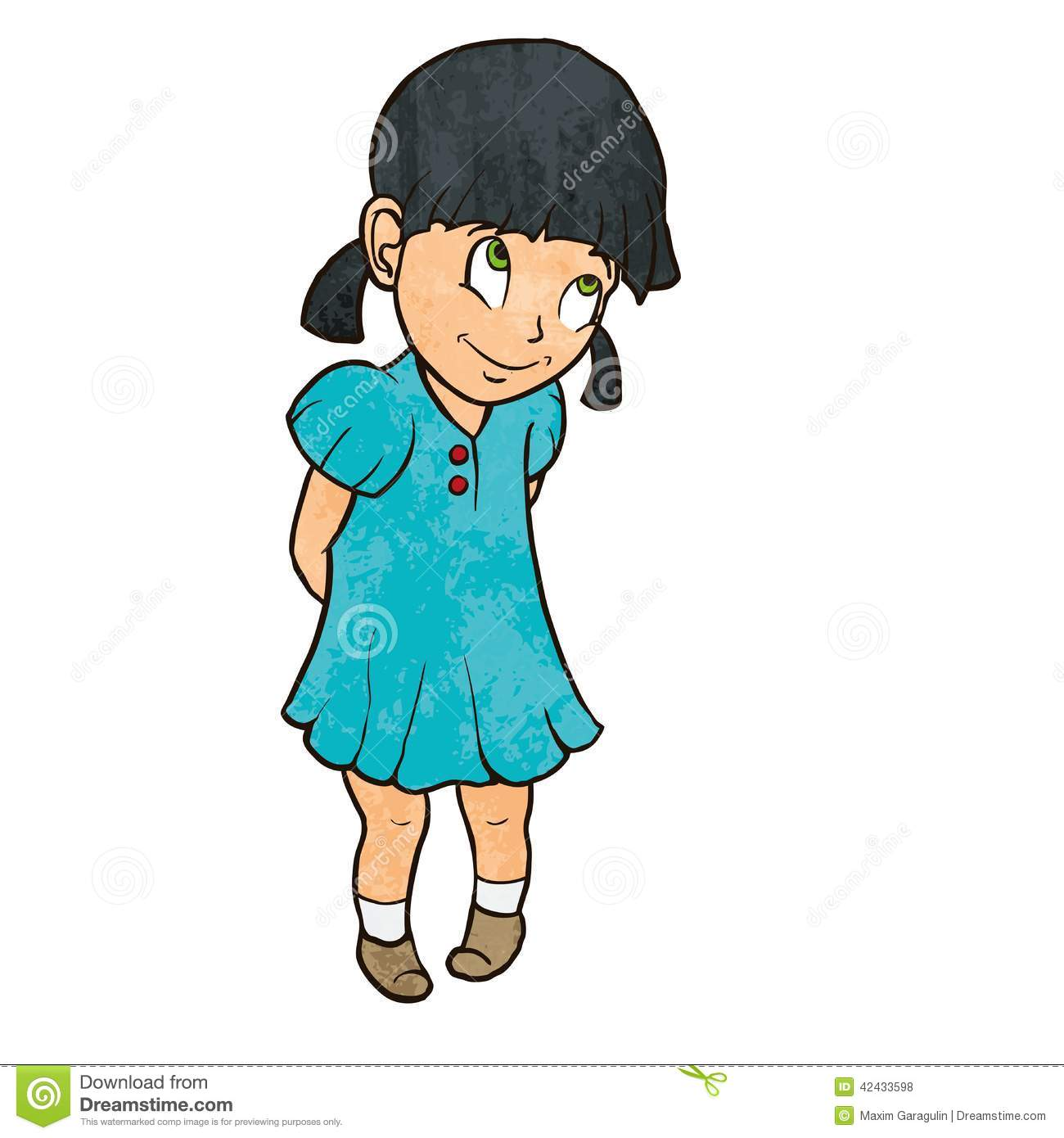 More similar stock images of ` Cute shy cheerful little girl in blue ...