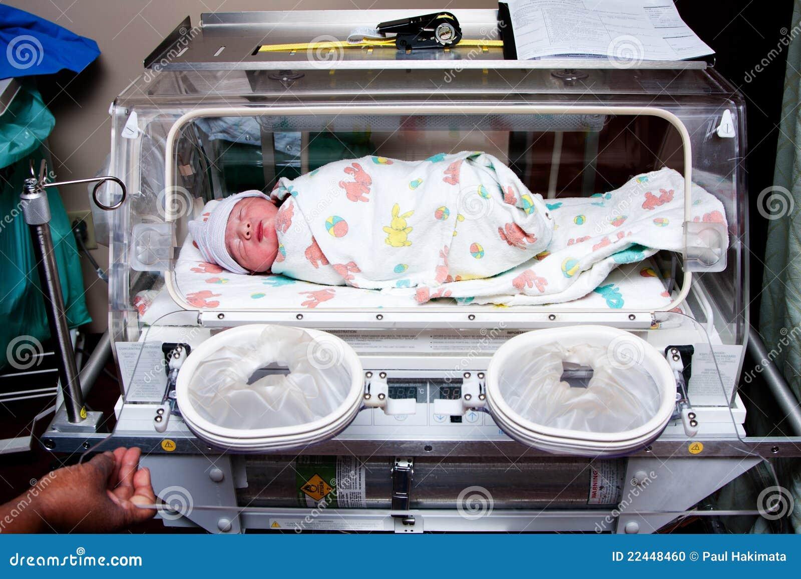 Cute Sick Baby In Incubator Stock Photo Image 22448460