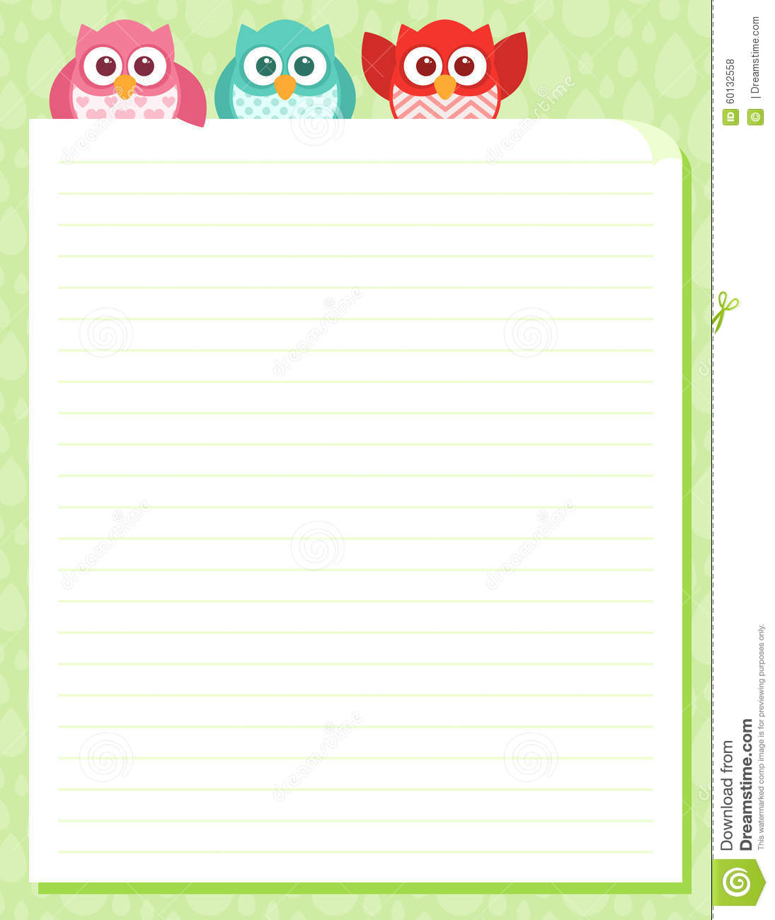 cute simple cartoon patterned owls stationery template