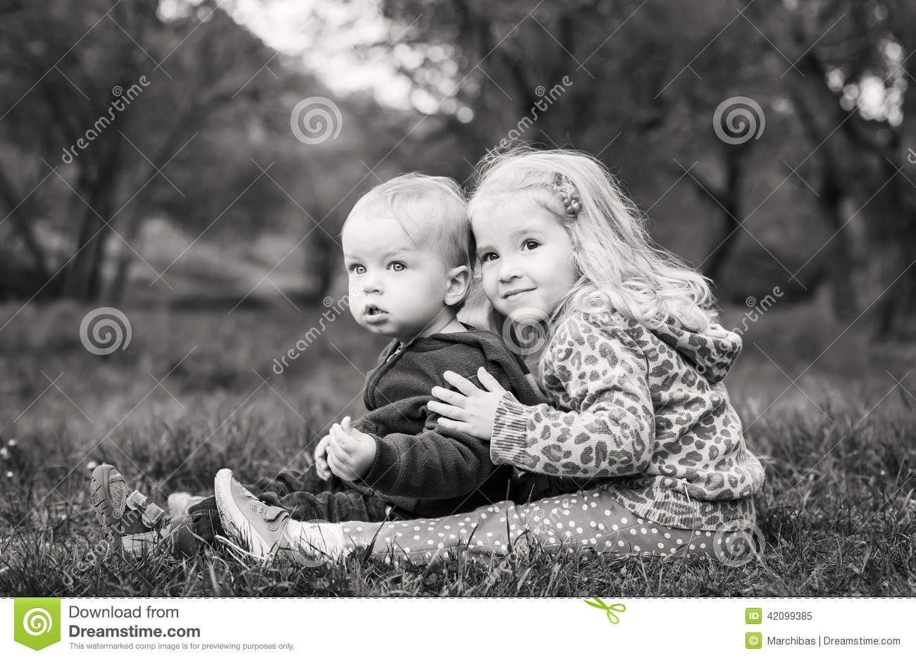 Cute Sister Hugging Brother Stock Image Image Of Love Beauty