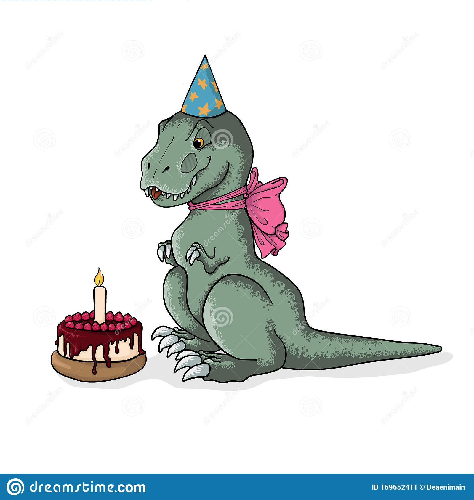 Astounding Cute Sitting Tyrannosaurus Rex In Birthday Cap And Pink Bow With Personalised Birthday Cards Paralily Jamesorg