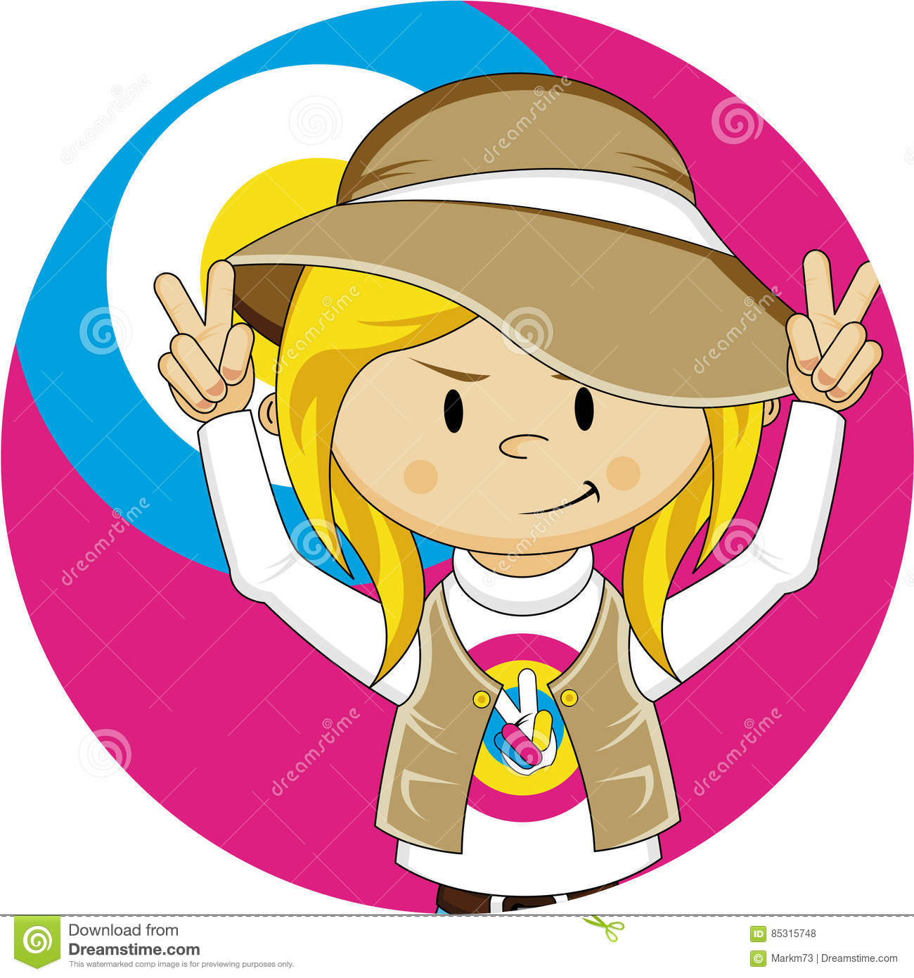 Embrace the Flower Power Age of the Sixties with this Cute Cartoon Hippie  Girl in Cool Hat - Vector Illustration. An EPS file is also available. 371acde1750