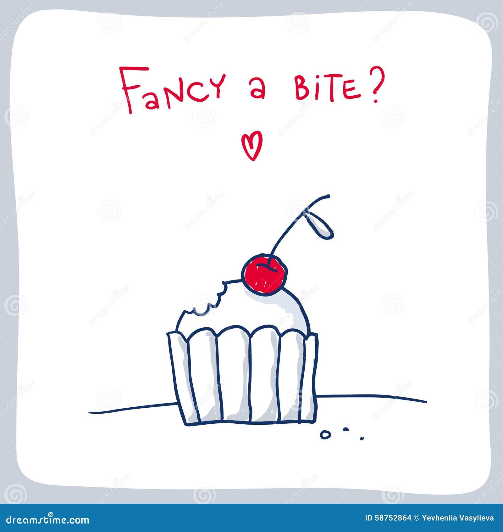 Cute Sketch Of The Bitten Cupcake Valentine Card Design – Cupcake Valentine Card