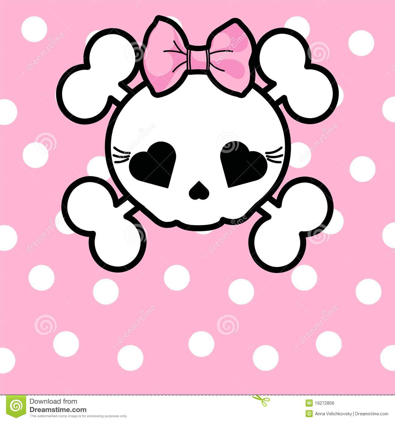 Cute Skull With Bow Stock Vector. Illustration Of