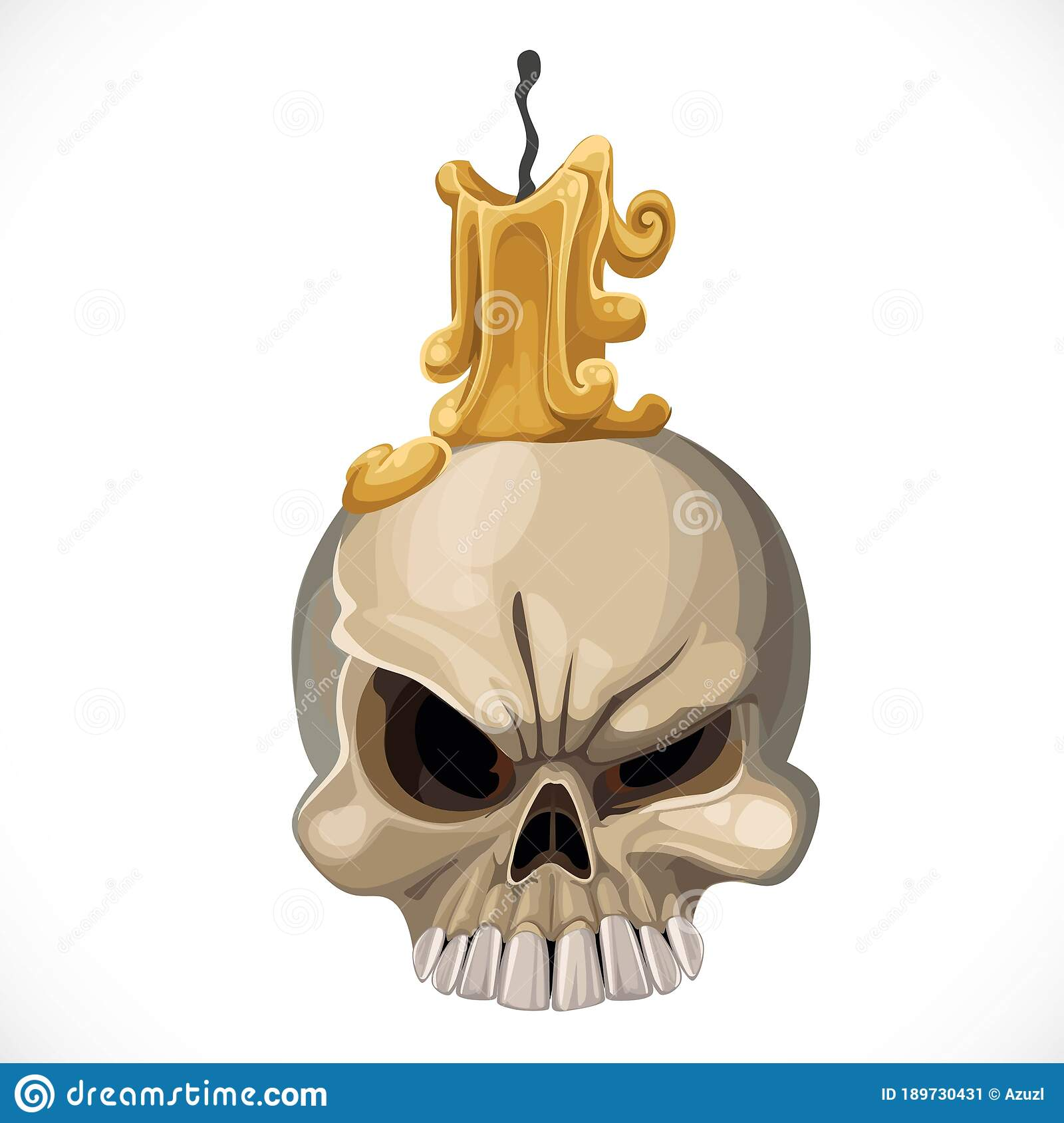 Cute Skull Candle Holder With A Candle On Top Stock Vector Illustration Of Scary Warning 189730431