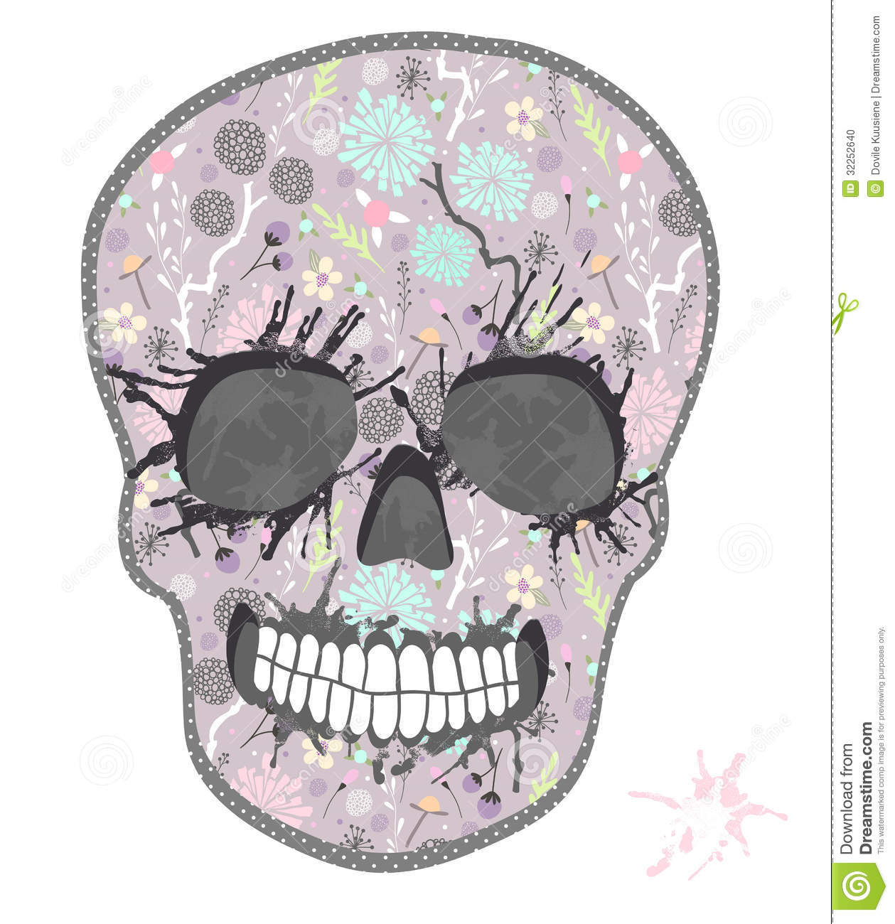 Cute Skull With Floral Pattern Skull From Flowers Stock Image