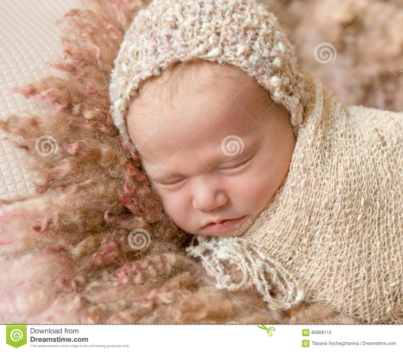 Cute Sleeping Baby In Hat On Fluffy Blanket Stock Photo ...