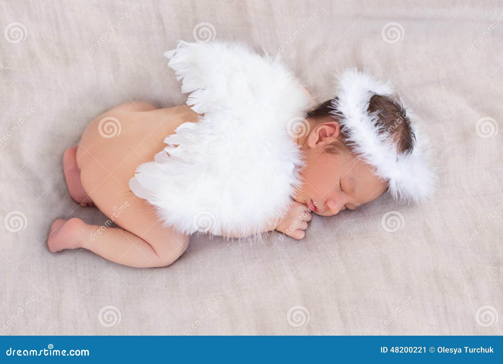 Cute Sleeping Newborn Angel S Character Stock Image