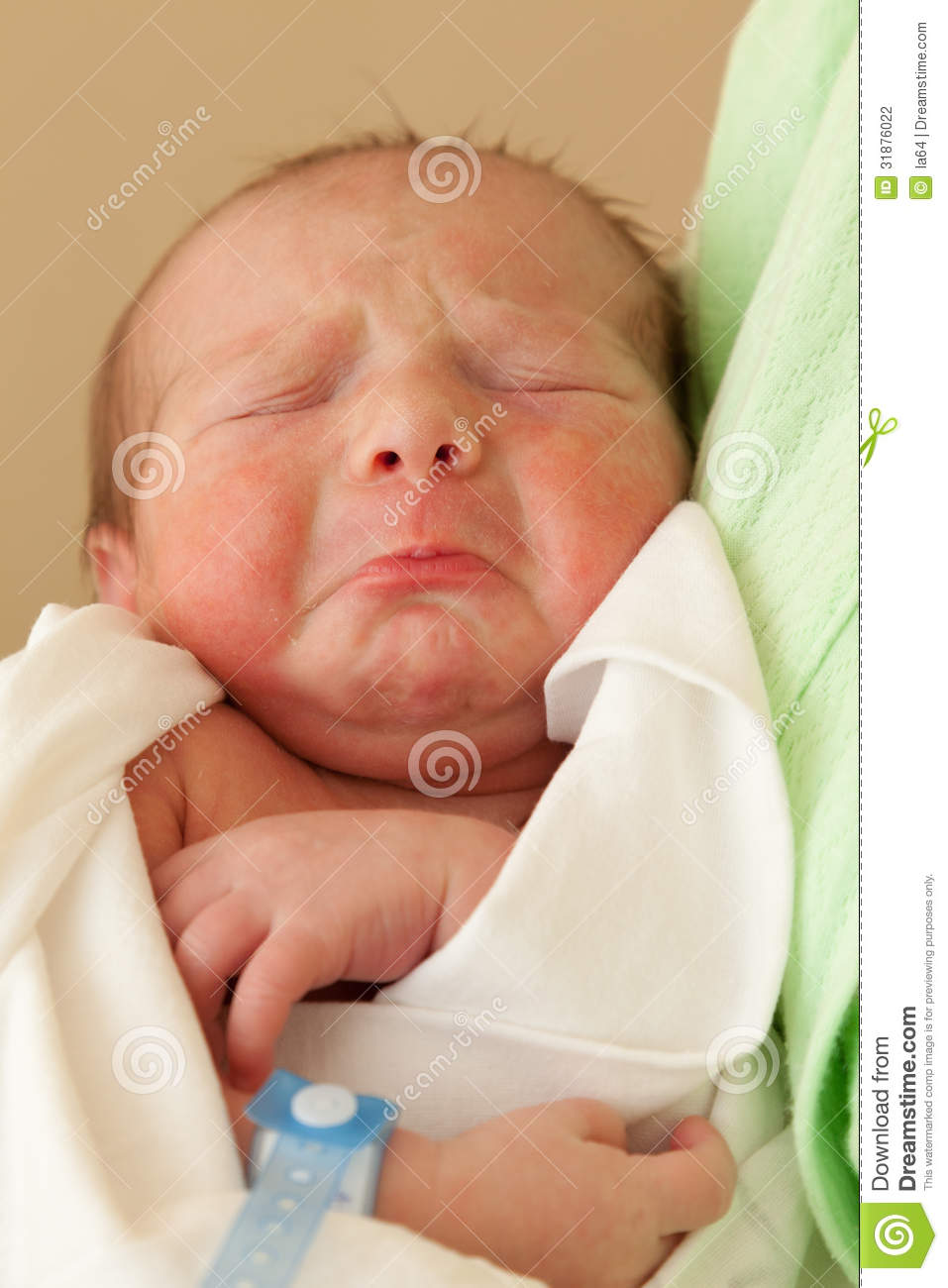 cute sleeping newborn baby on mother hands stock photo - image of