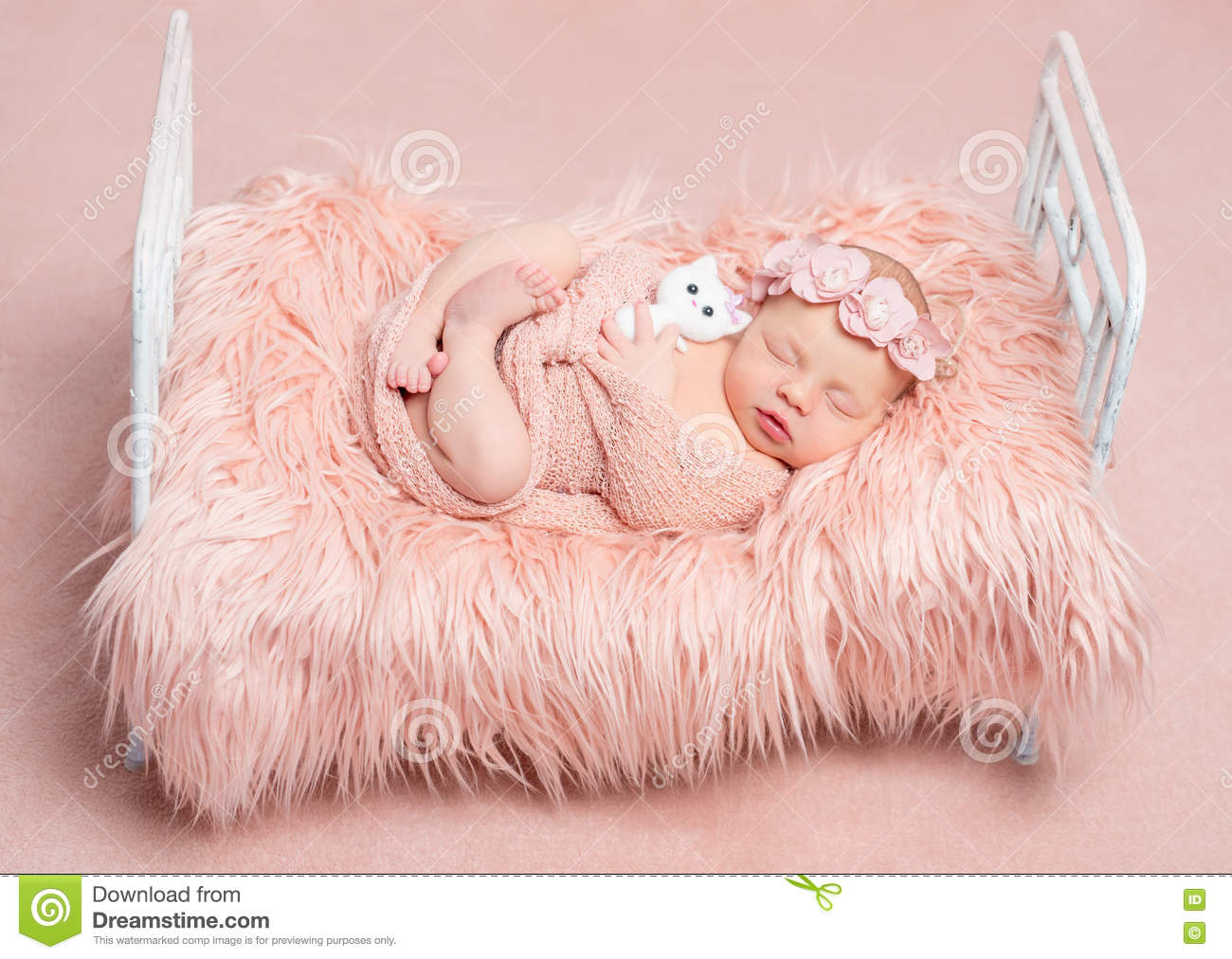 Sleeping Little Child Clasping His Hands Together Royalty