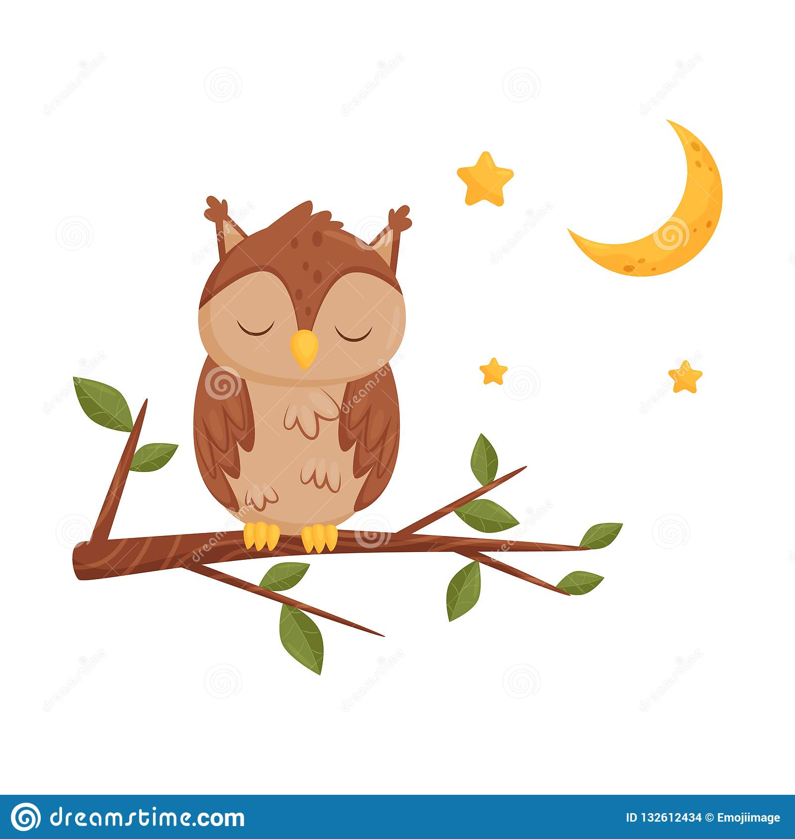 Cute Sleeping Owlet Sitting On A Branch Lovely Bird Cartoon