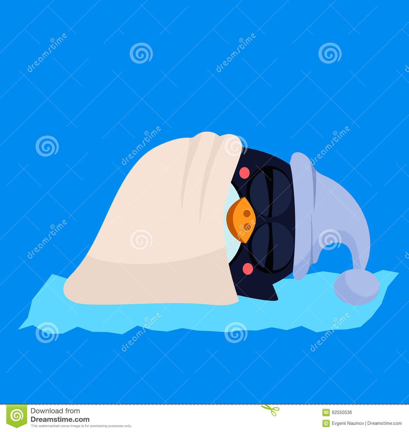 Cute Sleeping Penguin In A Hood Vector Stock Image 62550536