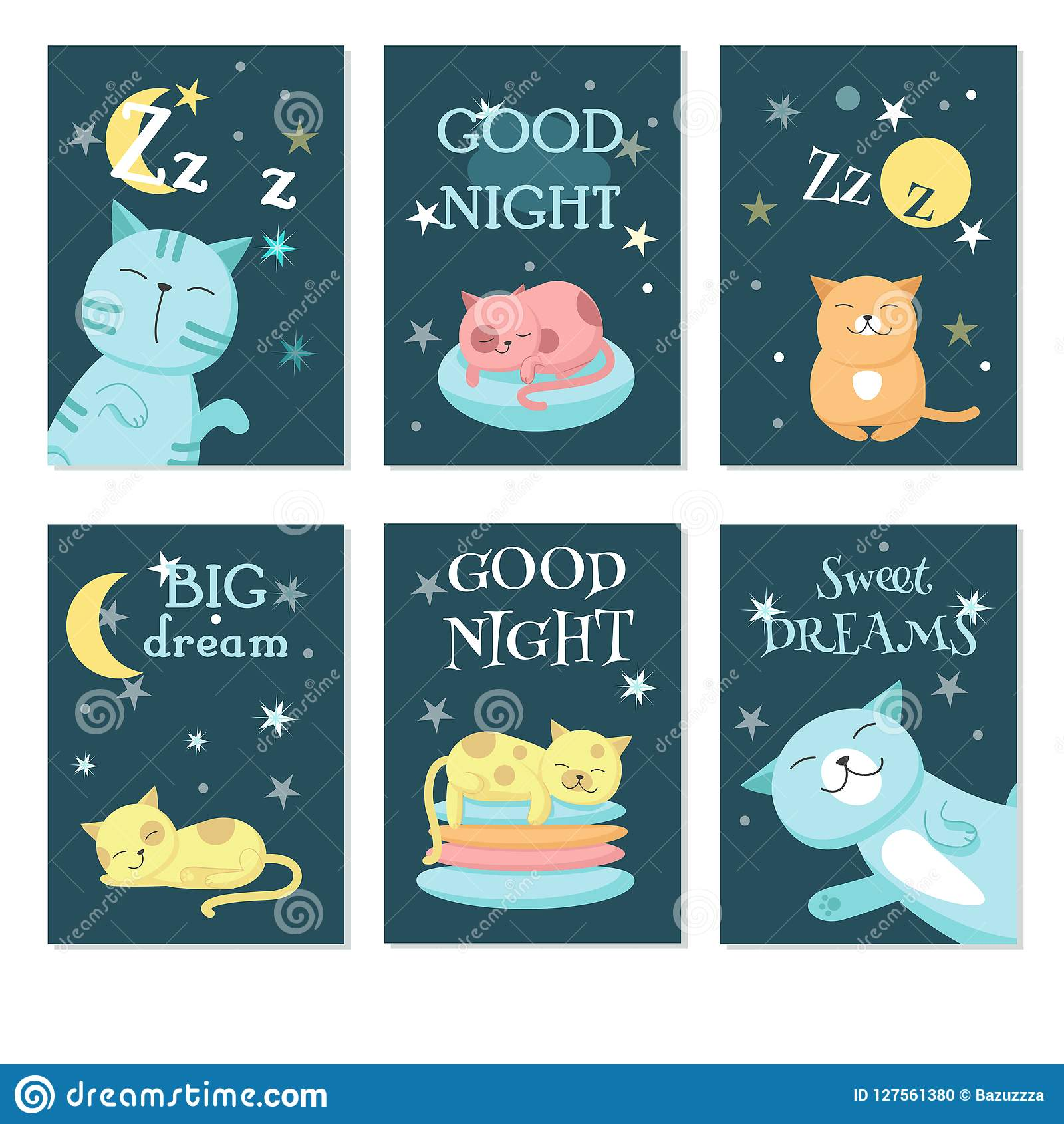 Cute Sleeping Pet Cats Vector Card Set Stock Vector Illustration