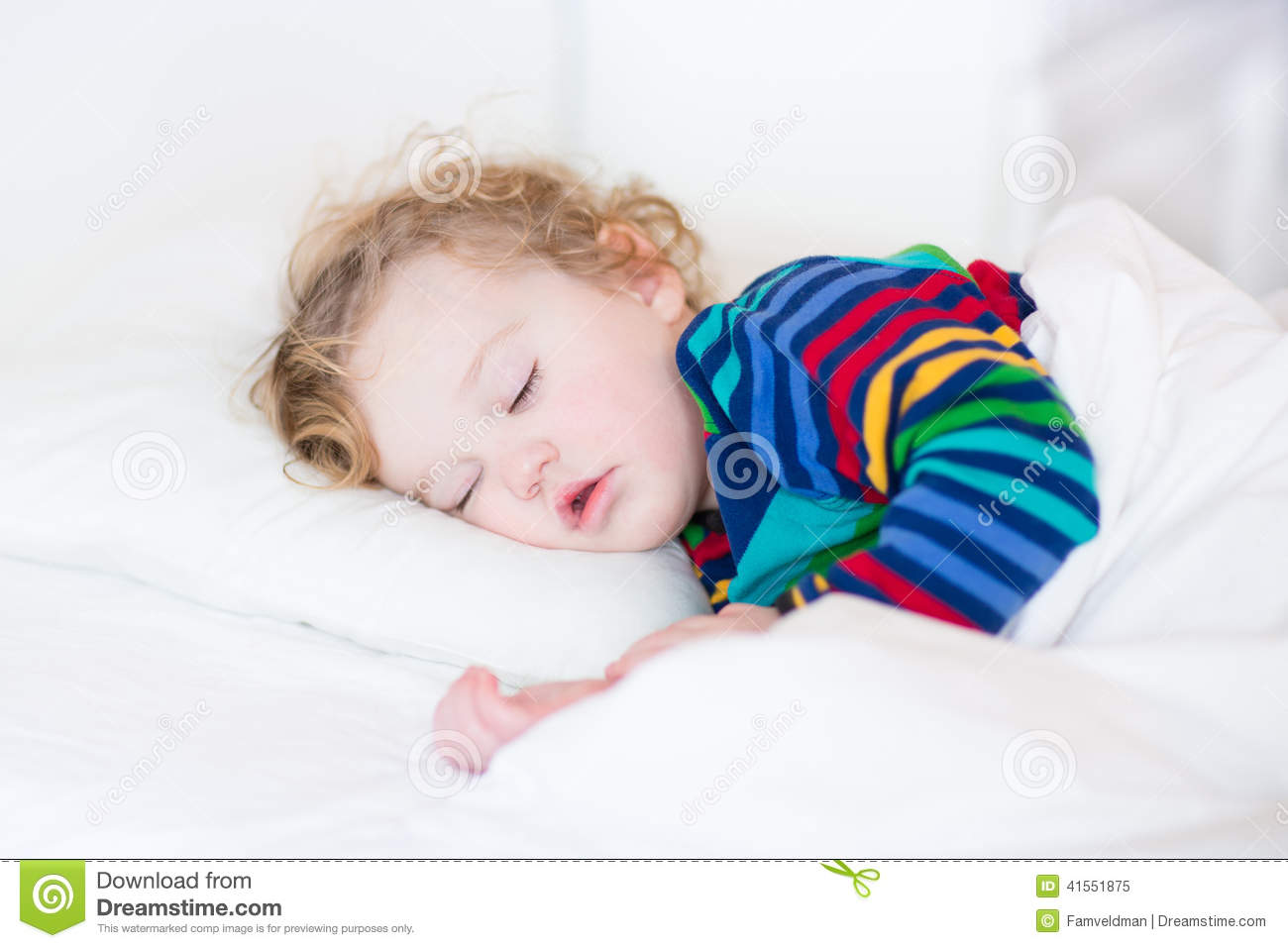 cute sleeping toddler girl in a white bed stock image image 41551875. Black Bedroom Furniture Sets. Home Design Ideas