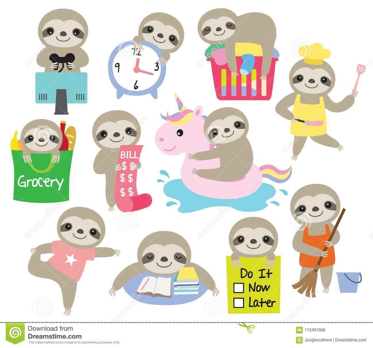 Cute Sloth Daily Activity Planner Vector Illustration