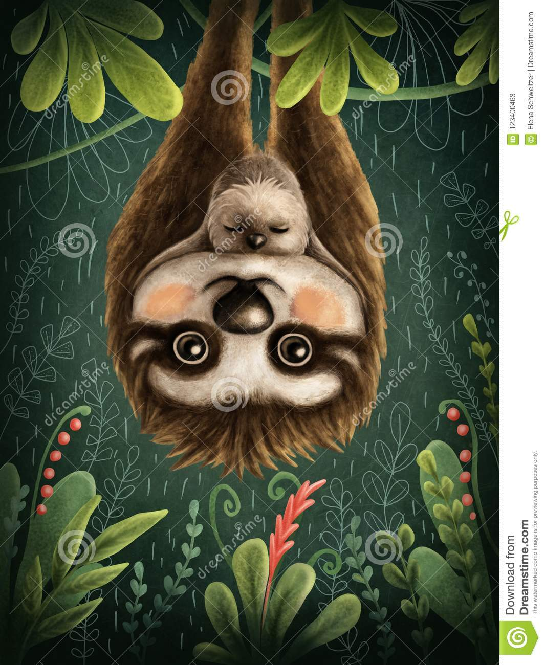Download Cute sloths stock illustration. Illustration of character - 123400463