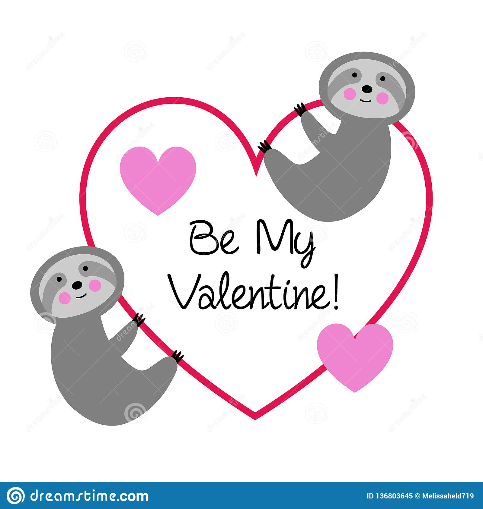 Cute sloths with valentine heart