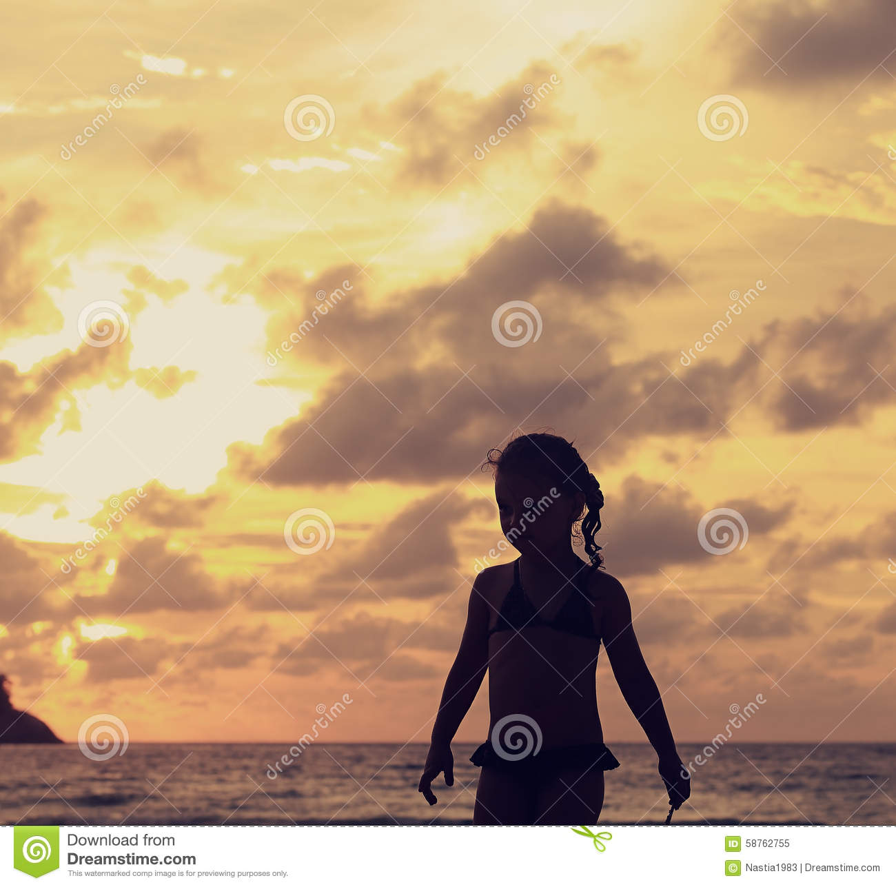 Beautiful Woman Face Over Beach Sunset Stock Image: Cute Small Kid Girl Walking Alone On The Beach On Bright