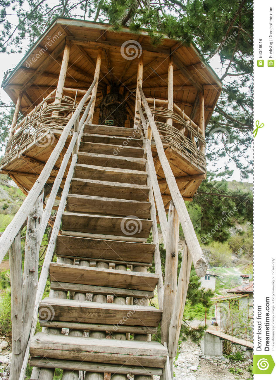 Cute small tree house stock photo image 56346018 for Small tree house