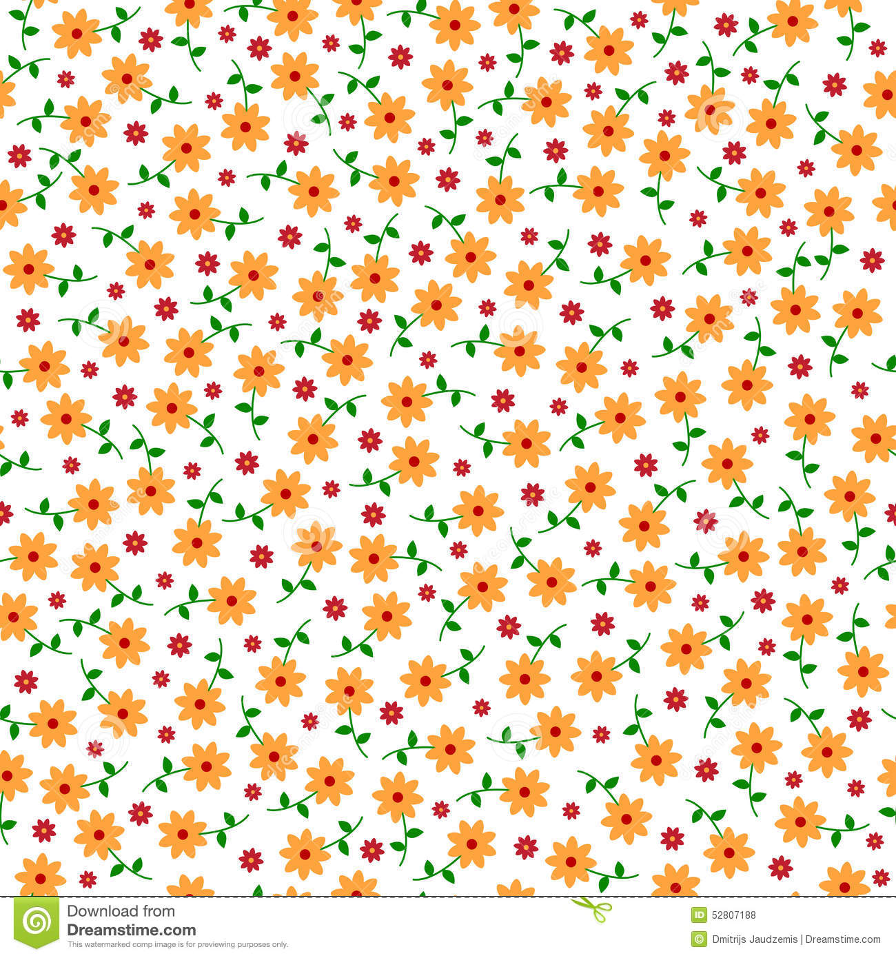 Cute Small Vector Flowers Seamless Pattern Stock Vector
