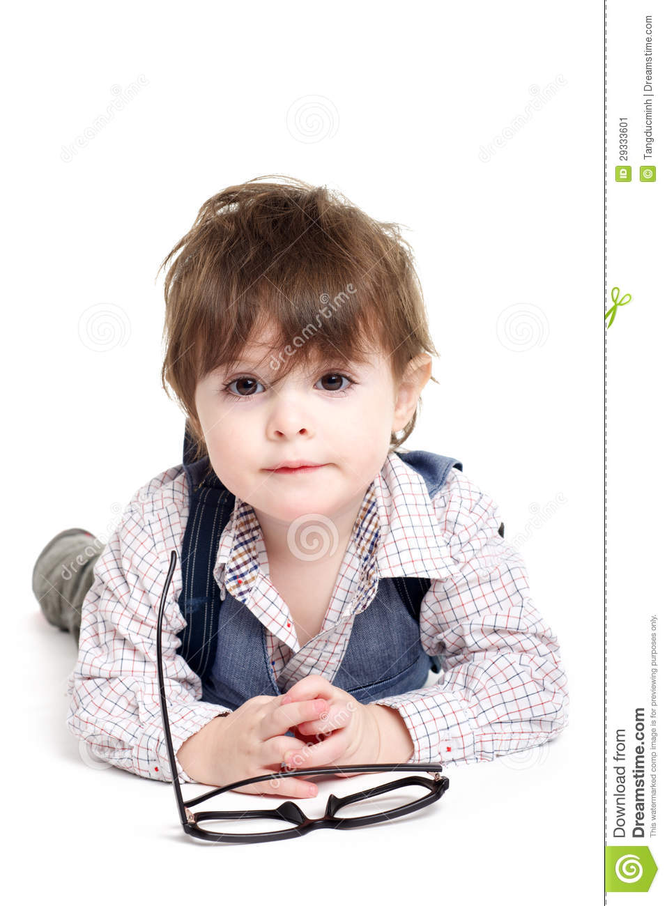 Cute smart baby kid with glasses