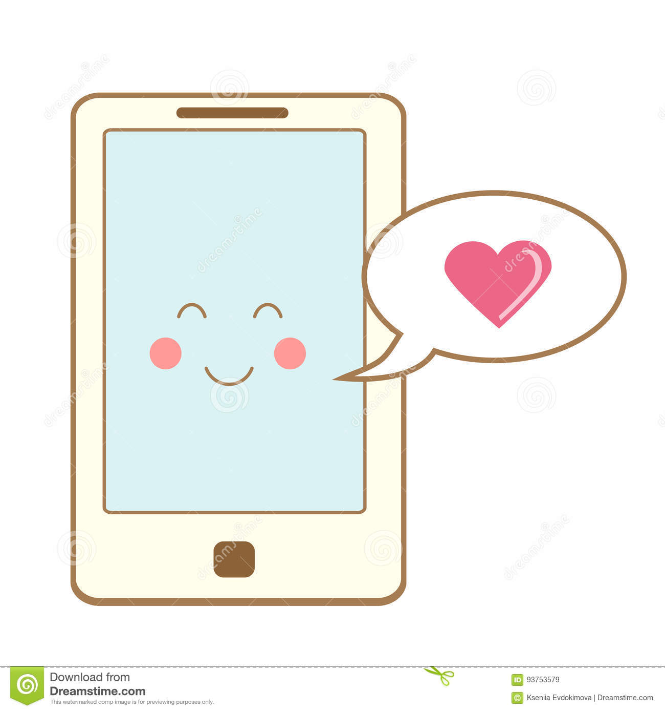 Cute Smartphone Icon Kawaii Smiling Mobile Phone Character With