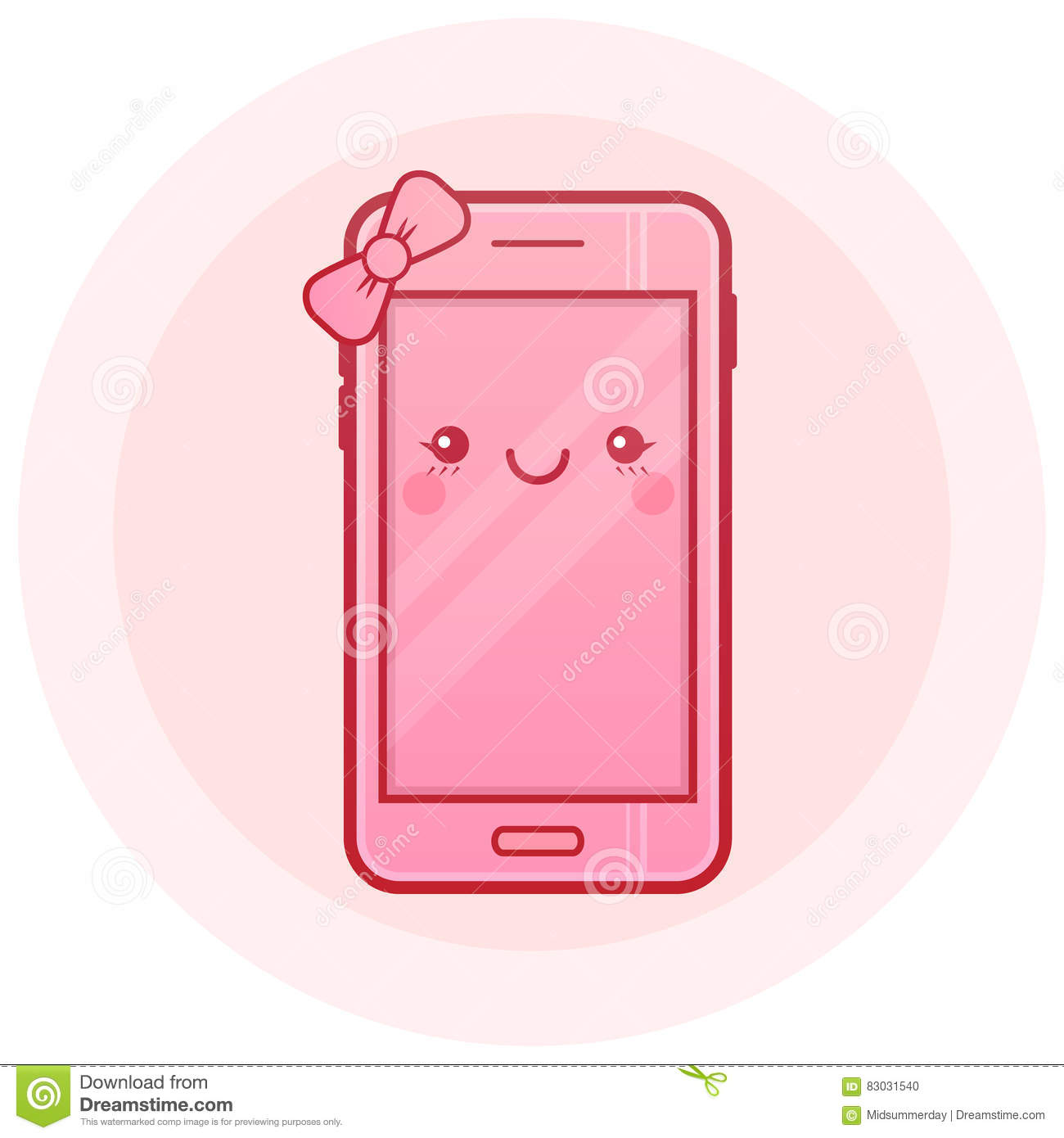 Cute Smartphone Vector Icon  Kawaii Cheerful Pink Mobile