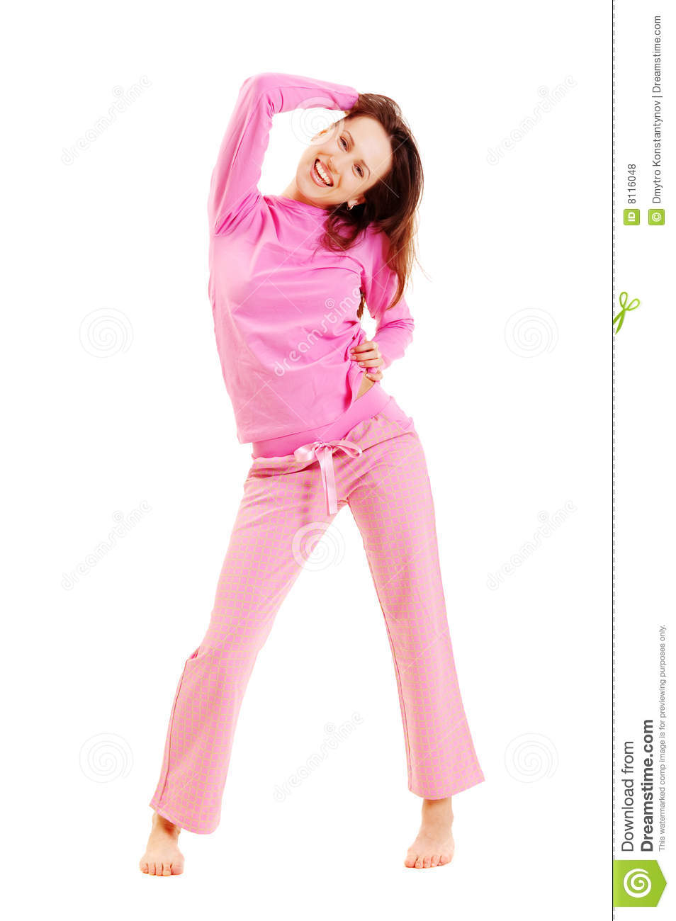 14815bf961da Cute Smiley Woman In Pink Pyjamas Stock Photo - Image of caucasian ...