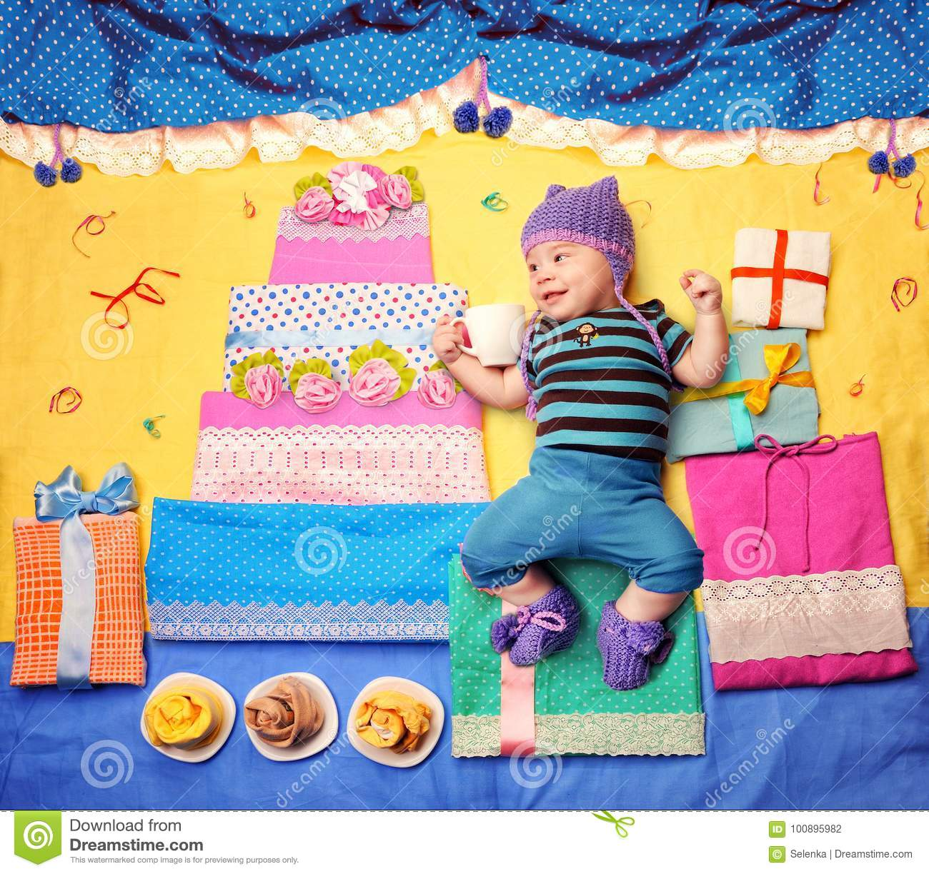 Cute Baby Boy Celebrate His First Birthday With Big Cake And Gifts