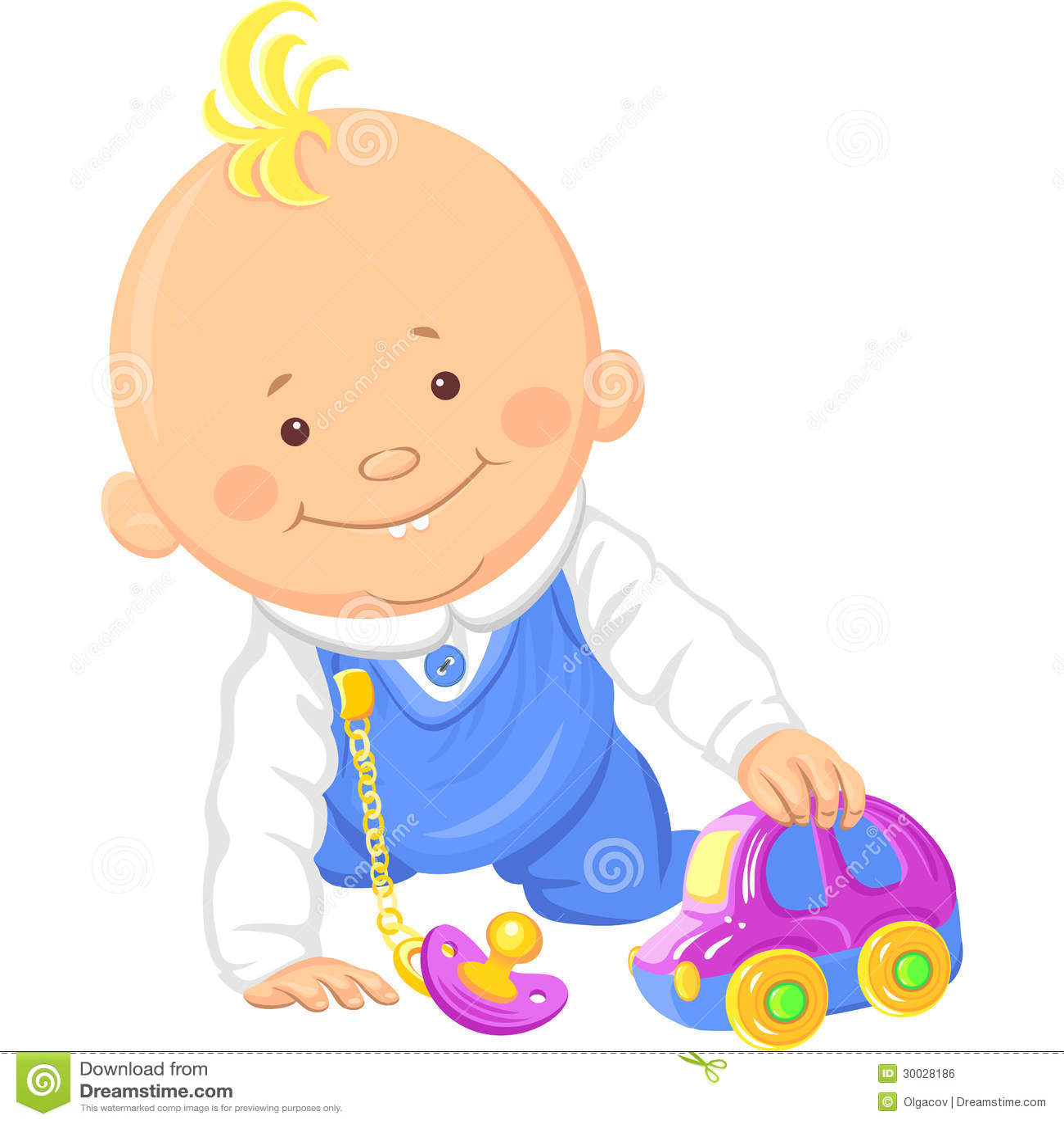 Vector Cute Baby Boy Playing Toy Car