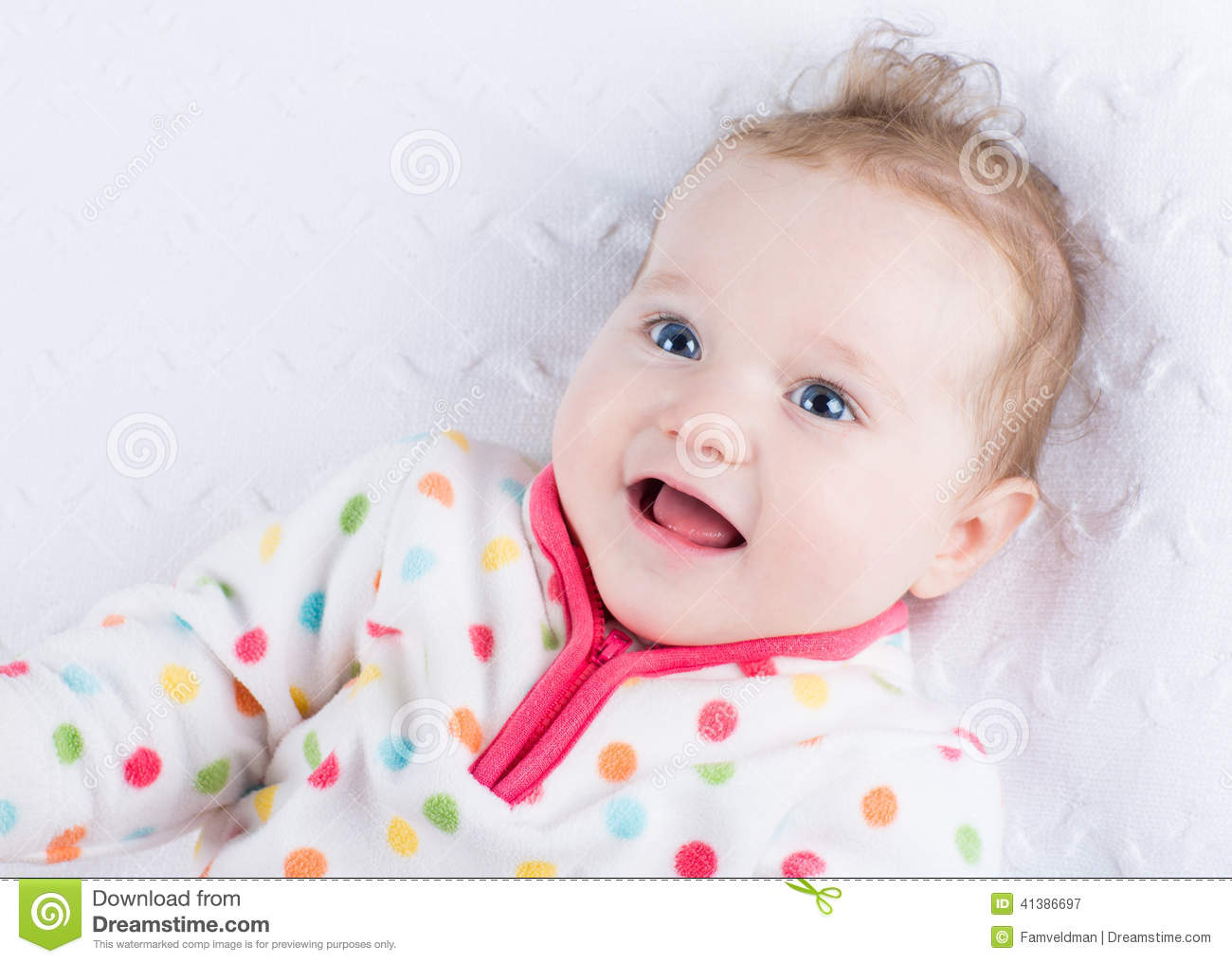e58899ed8 Cute Smiling Baby Girl Wearing A Warm Winter Jacket Stock Image ...