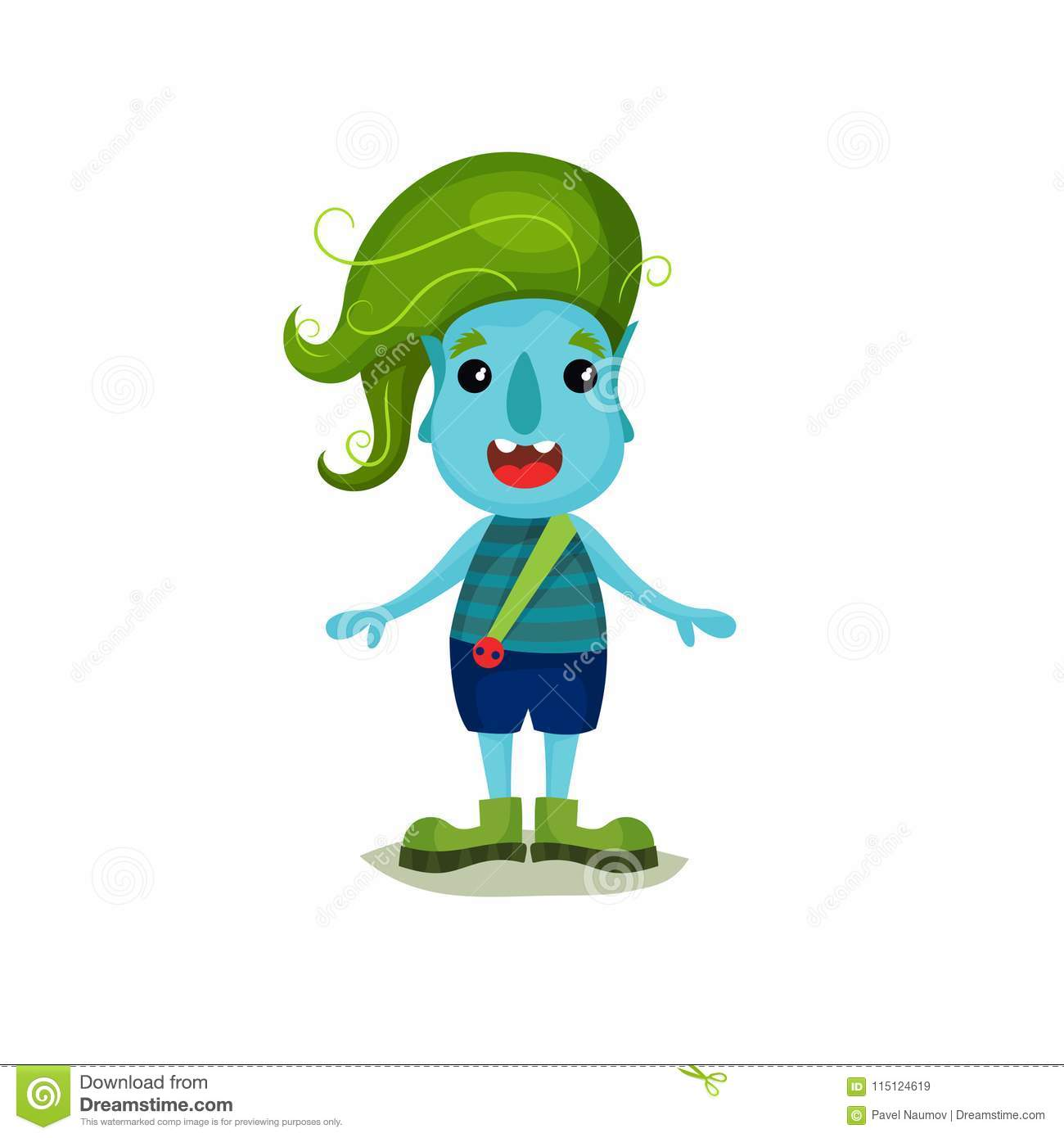 Cute Smiling Boy Troll With Green Hair And Blue Skin Funny Fairy