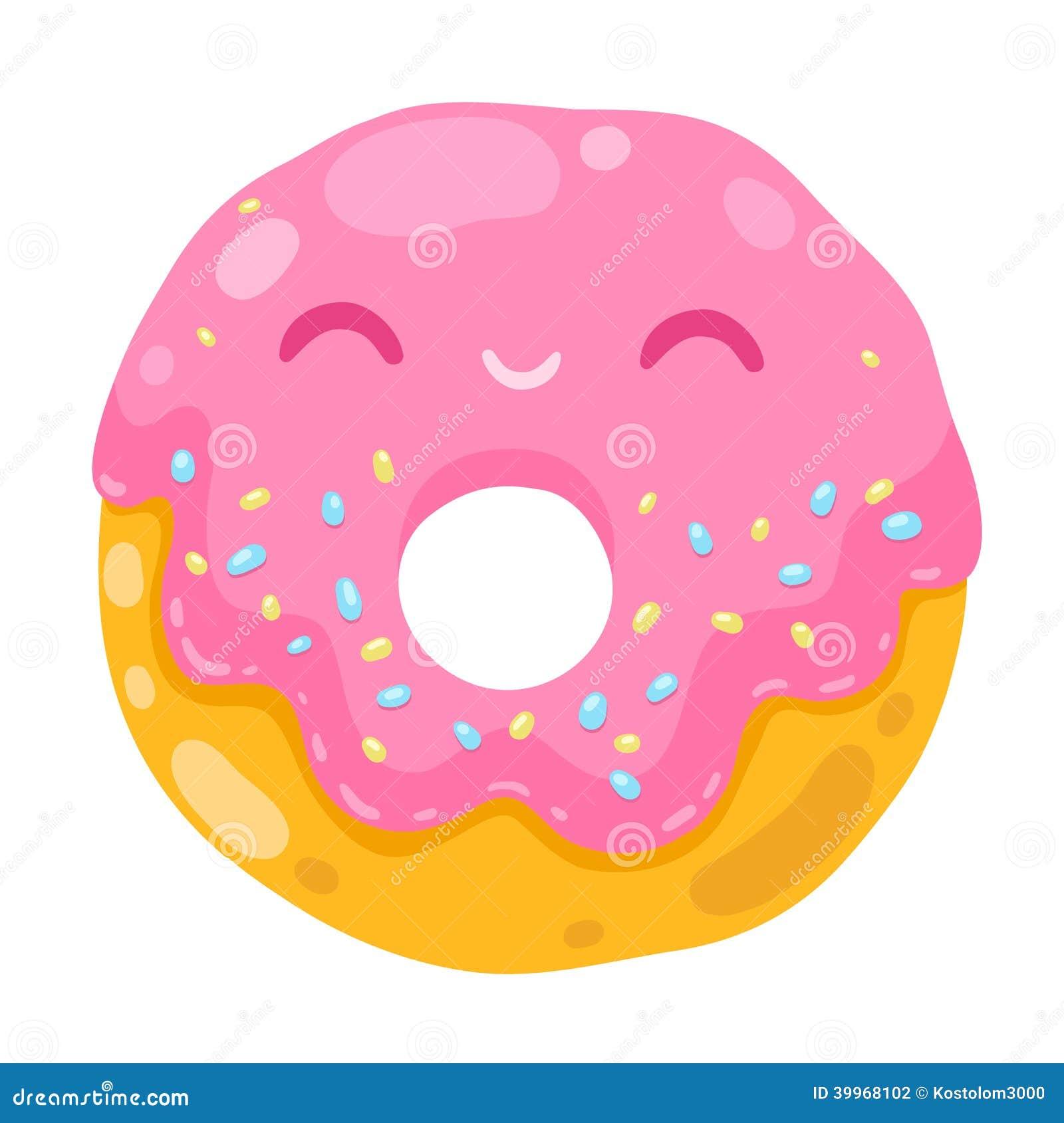 cute smiling donut cartoon food illustration stock vector rh dreamstime com