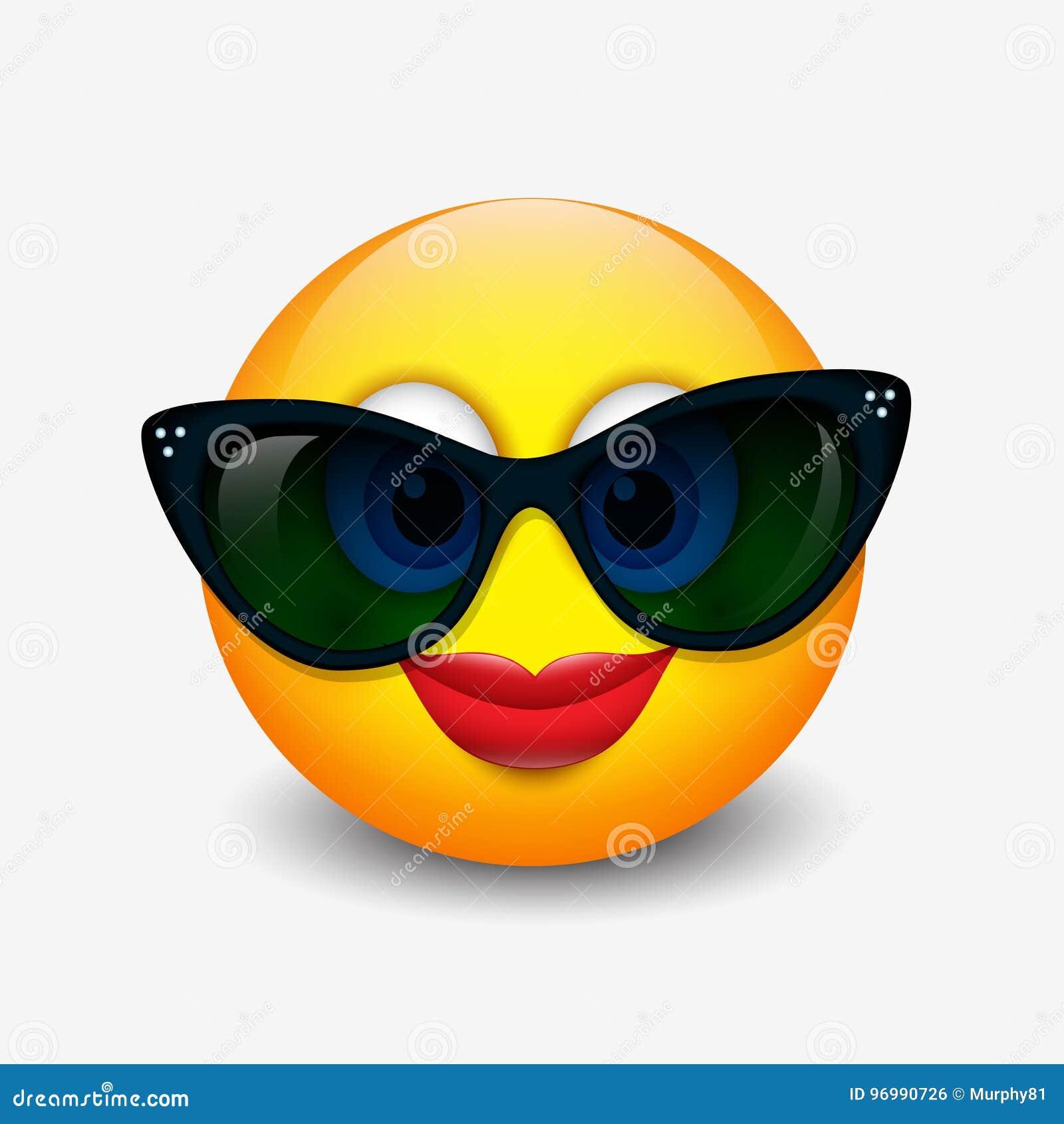 b0f5f6f9a84 Cute Smiling Emoticon Wearing Black Sunglasses