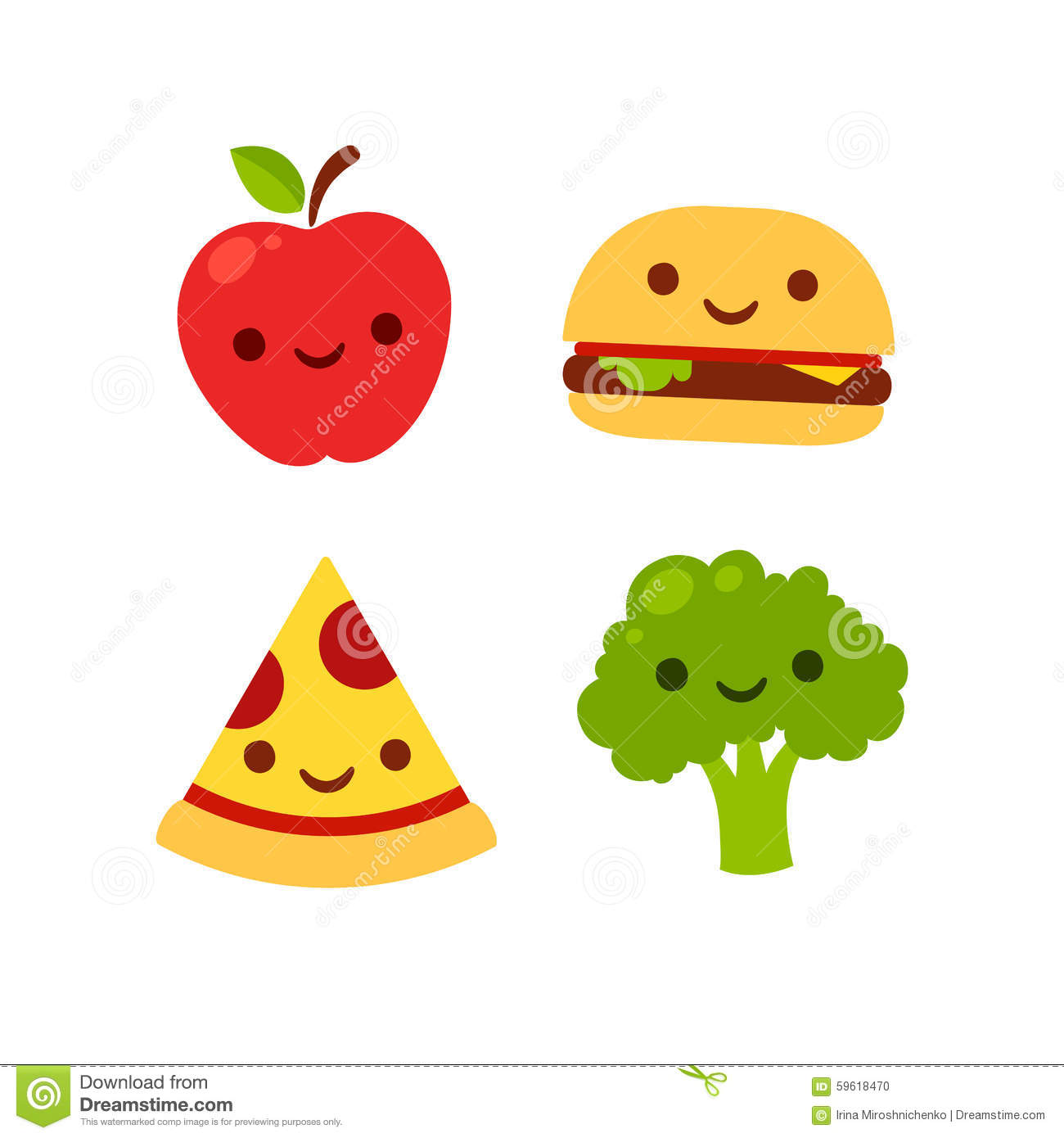 Cute smiling food stock vector. Illustration of ...