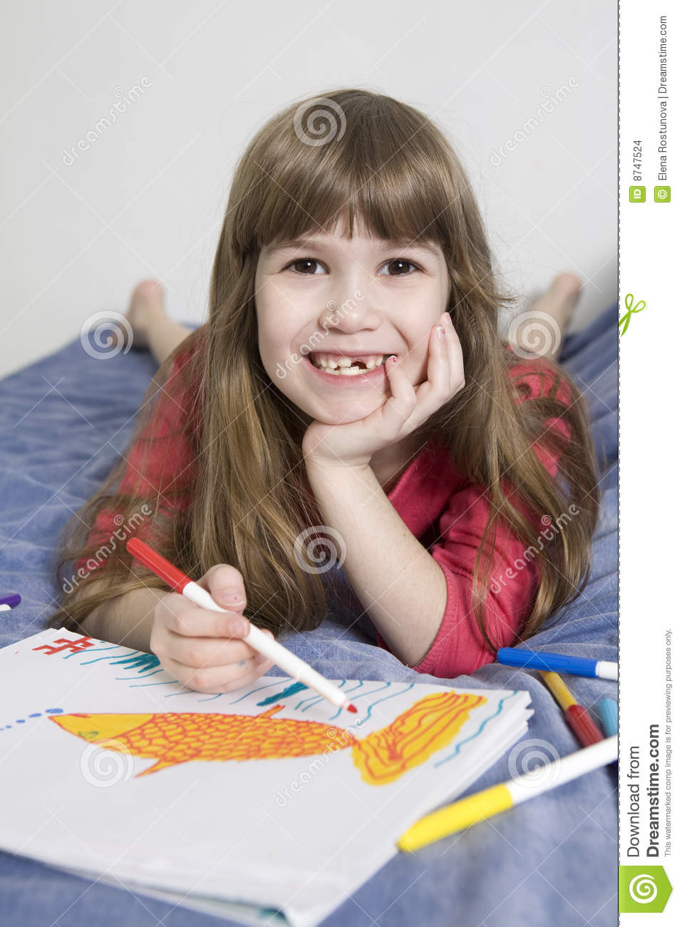 Cute smiling girl seven years old