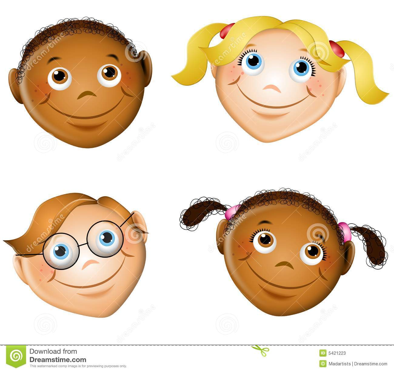 cute smiling kids faces stock illustration. illustration of