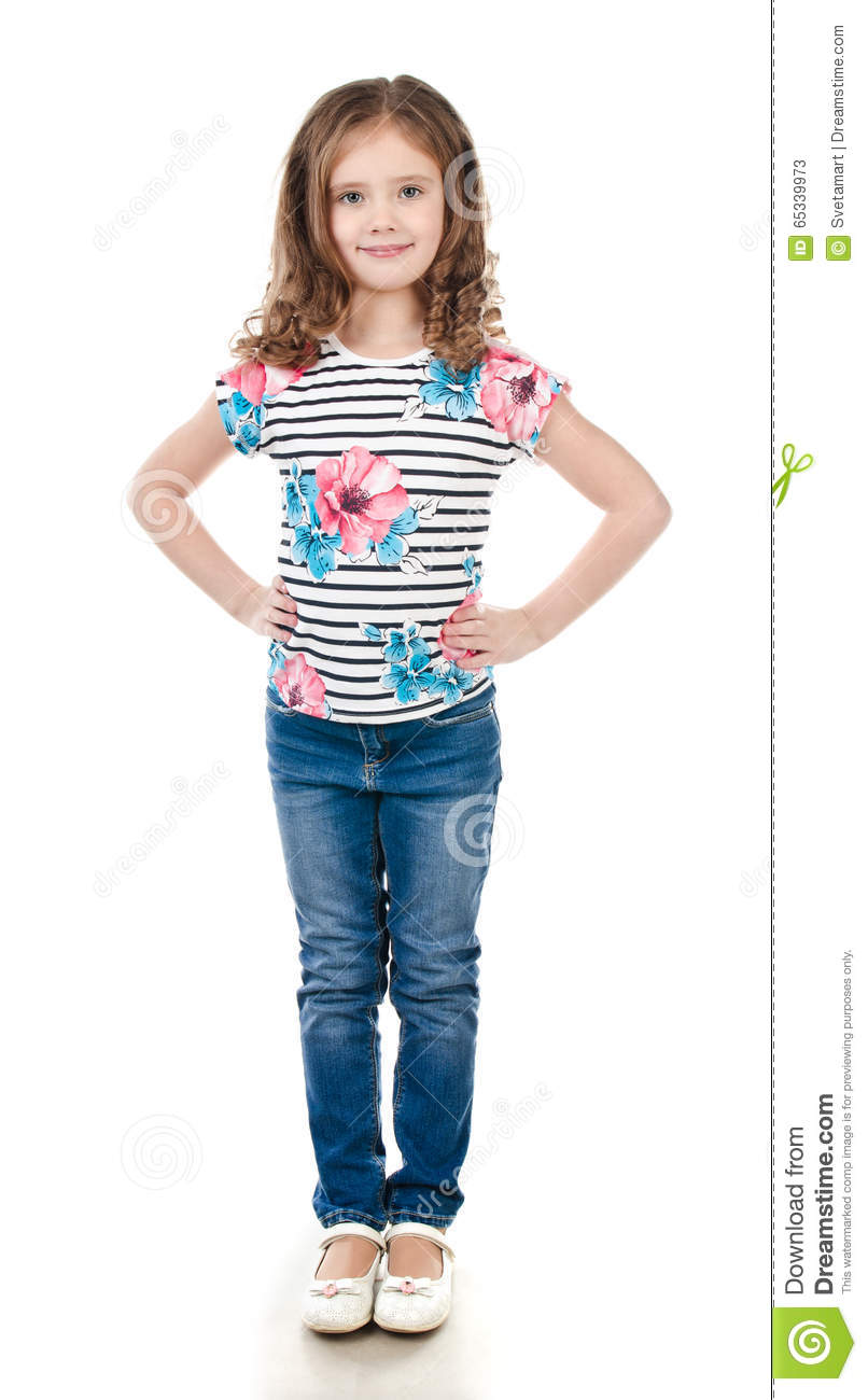 cute smiling little girl in jeans stock photo image