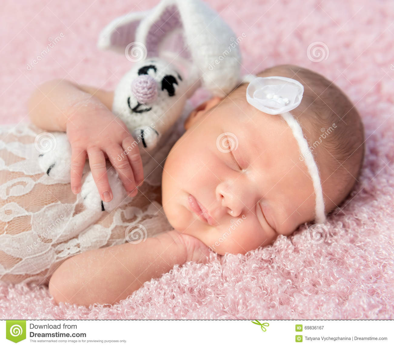 Cute Smiling Newborn Baby Sleeps On Blanket Stock Image Image Of Adorable Cute 69836167