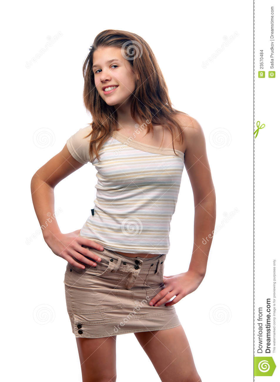 Cute smiling teenage girl in skirt and blouse stock photo Cute teenage girls pics