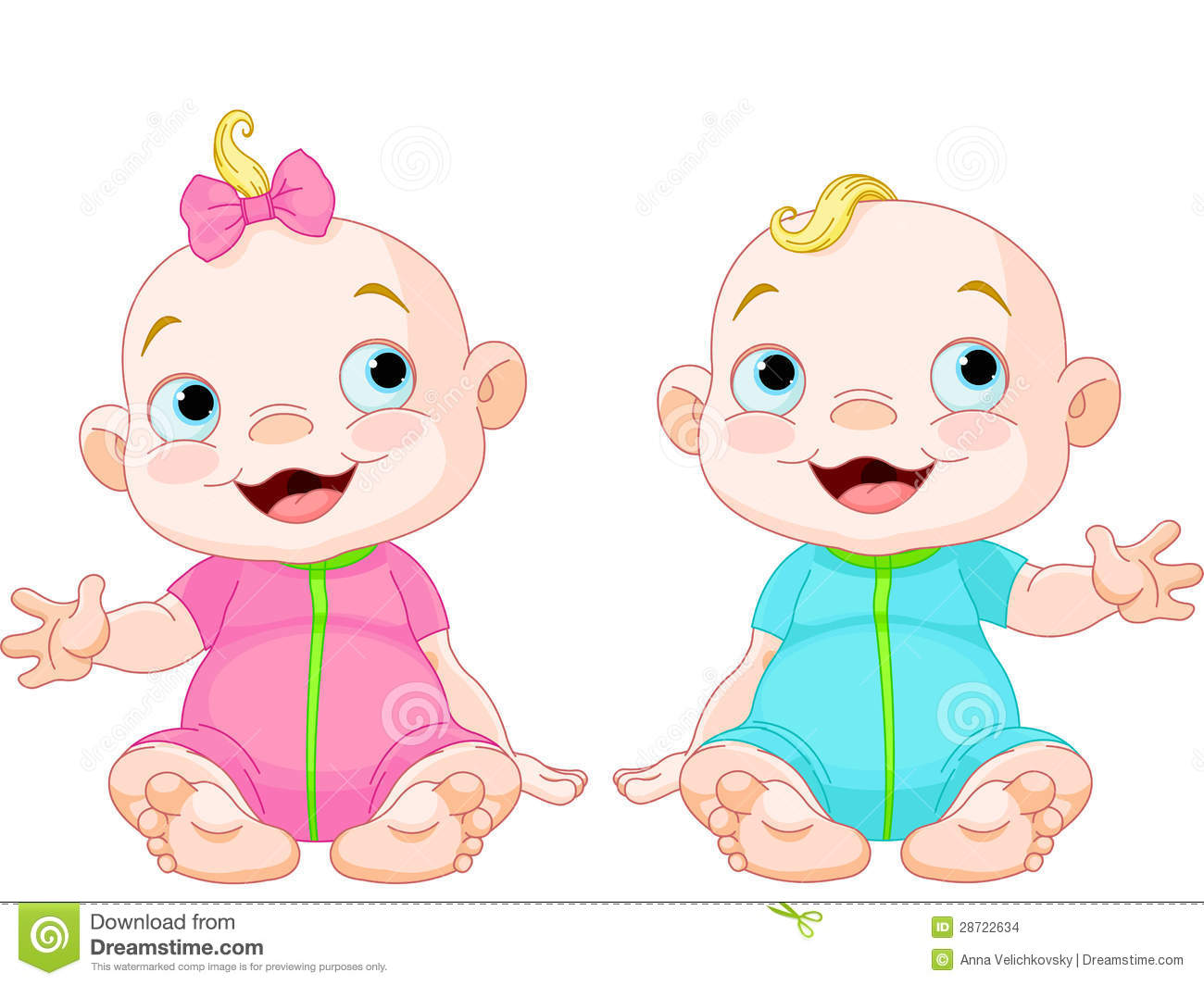 Cute Smiling Twins Stock Images - Image: 28722634