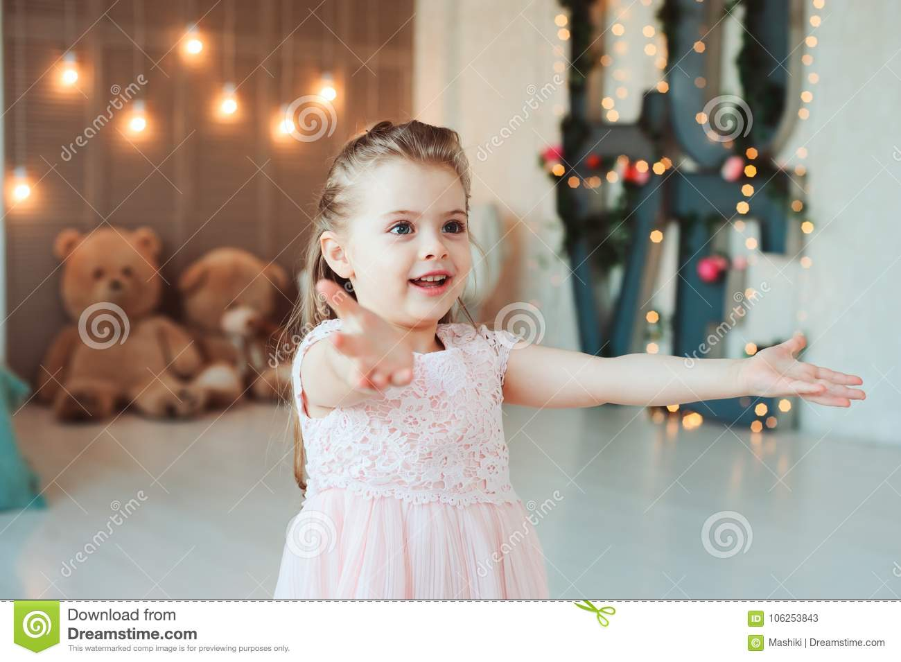 Cute Smiling 5 Years Old Child Girl Celebrating Birthday
