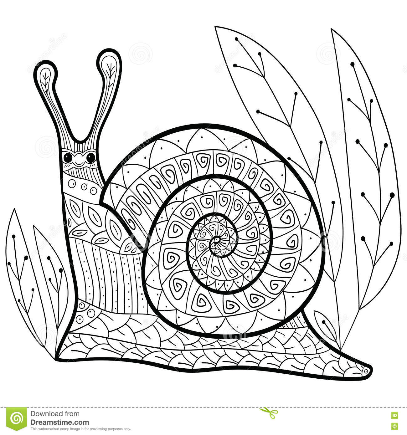 Cute Snail Adult Coloring Book Page. Cartoon Vector ...