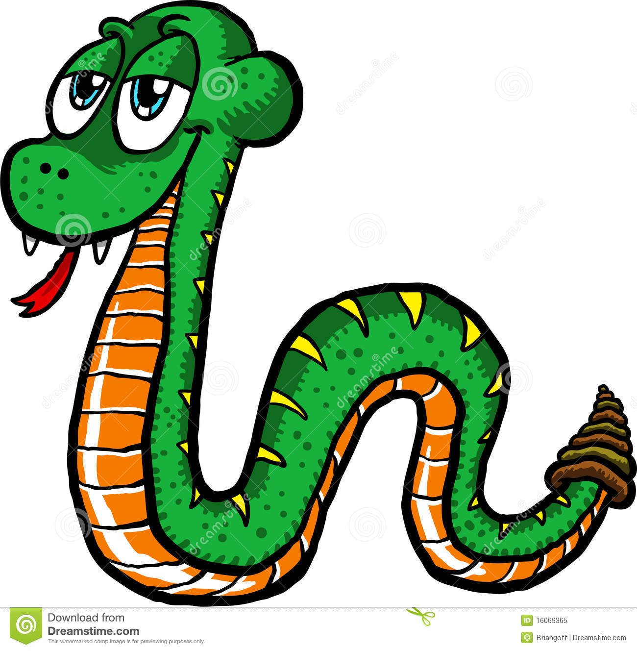 Vector illustration of a cute cartoon snake slithering along.