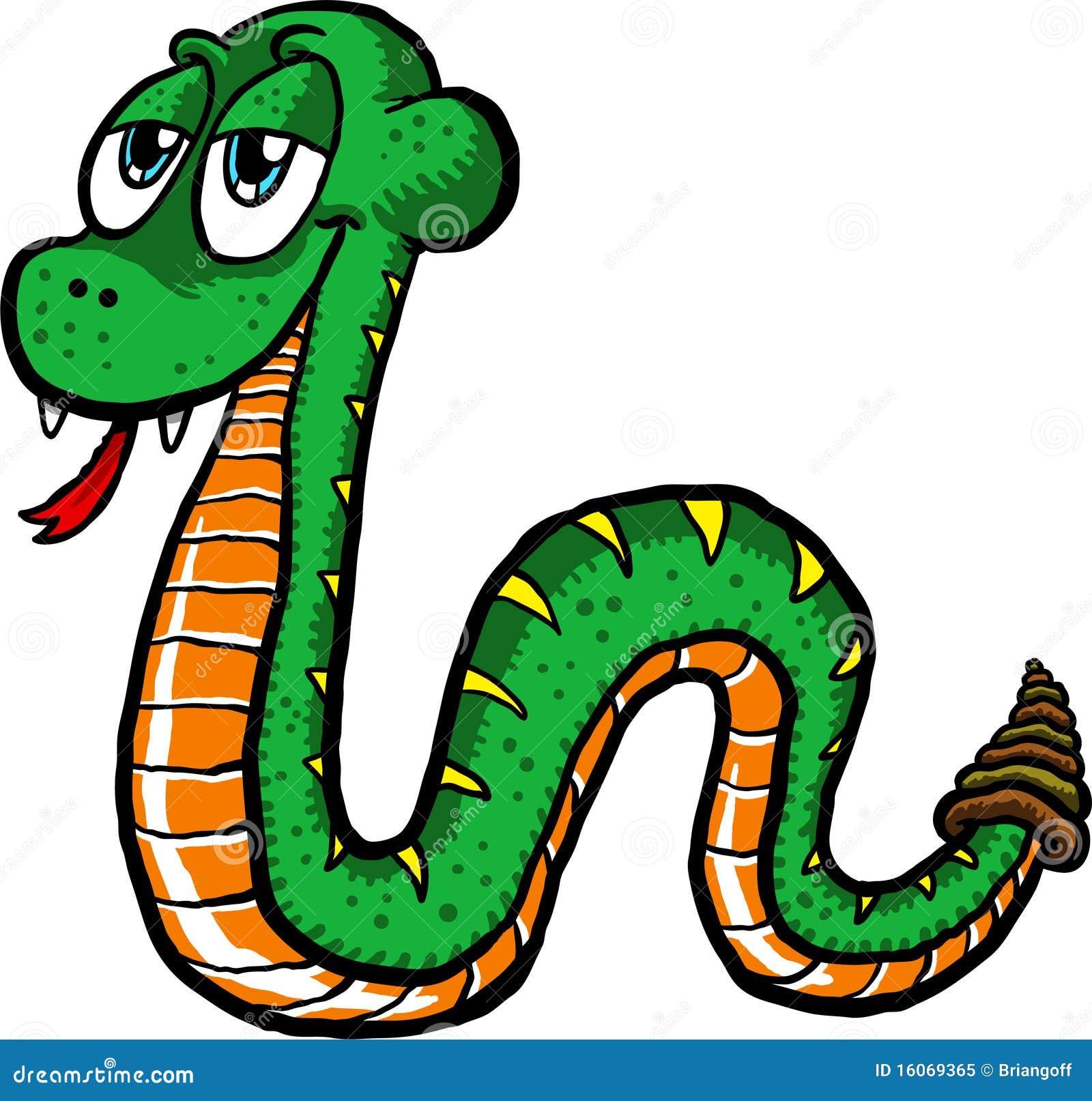 Vector illustration of a cute cartoon snake slithering along.